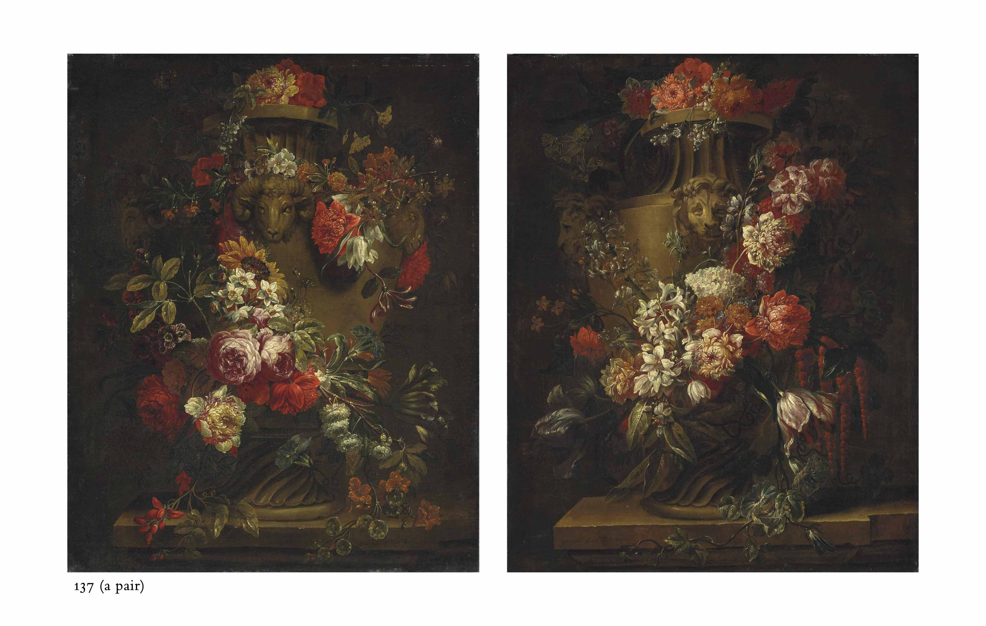 A garland of roses, peonies, daffodils, tulips, morning glory and other flowers draped around an urn with ram heads, on a stone ledge; and A garland of peonies, roses, snowballs, tulips, hyacinths and other flowers draped around an urn with lion heads, on a stone ledge
