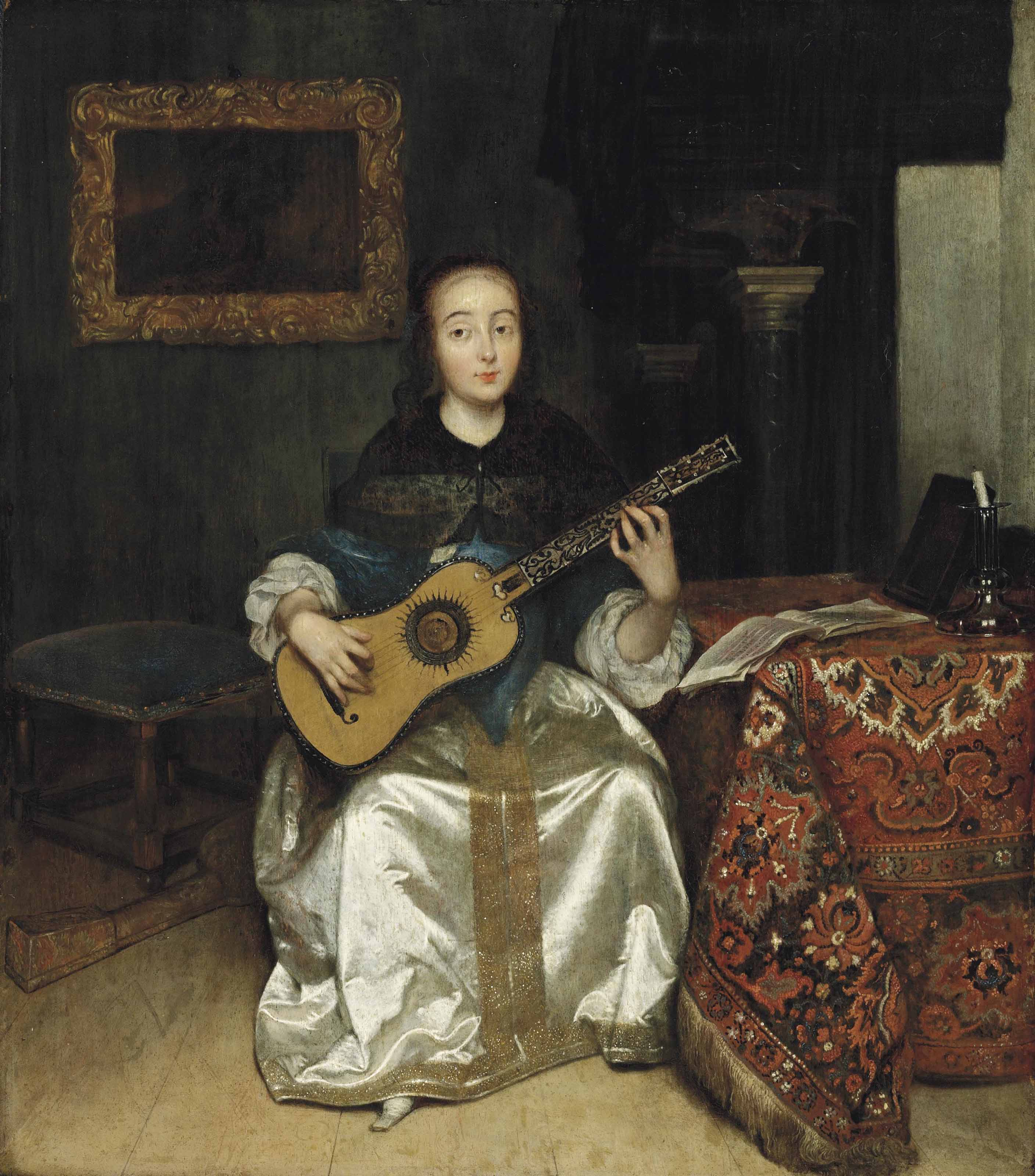 An elegant woman playing the guitar by a draped table, in an interior