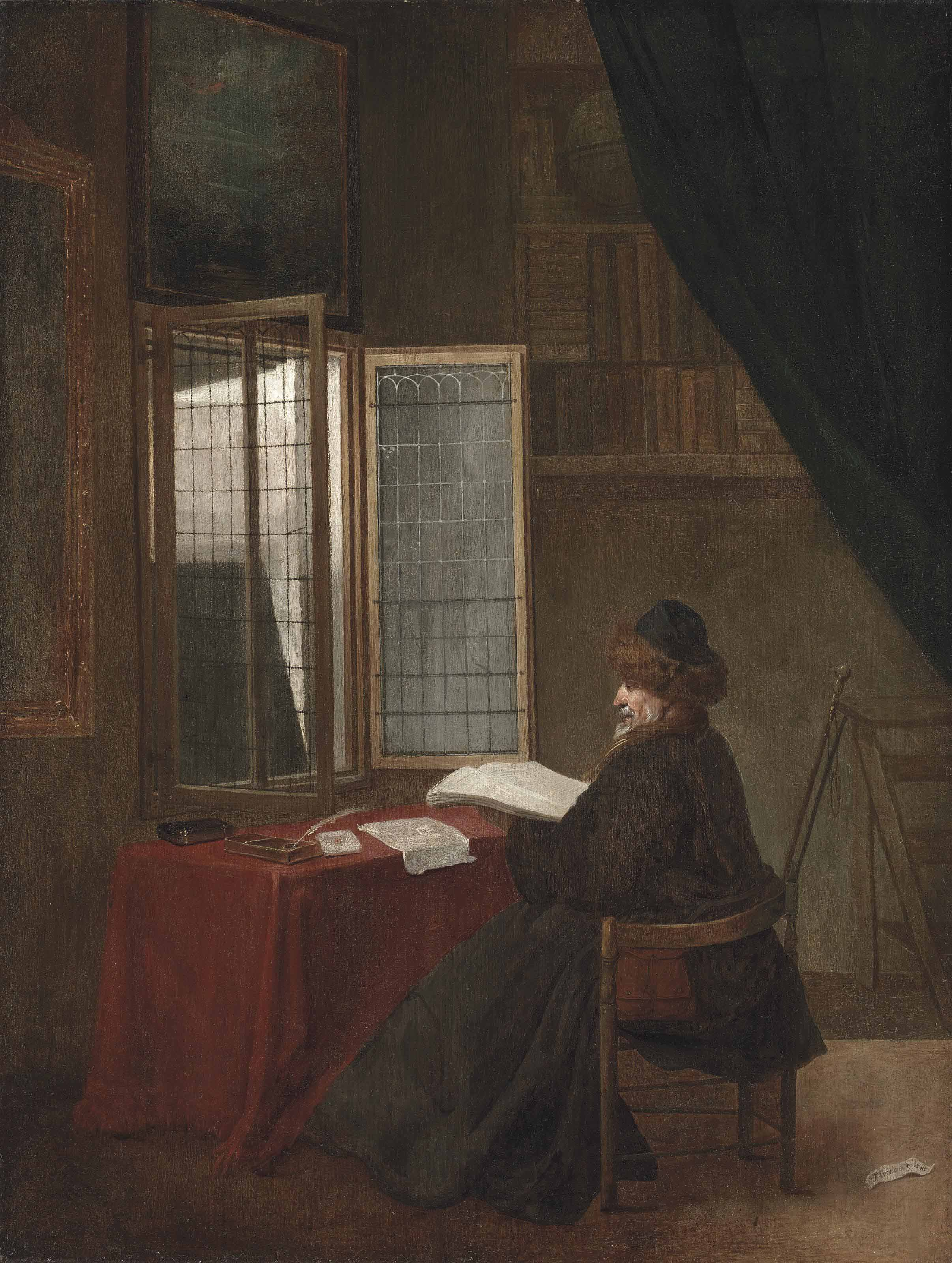 An old man seated at his desk before an open window, holding a book
