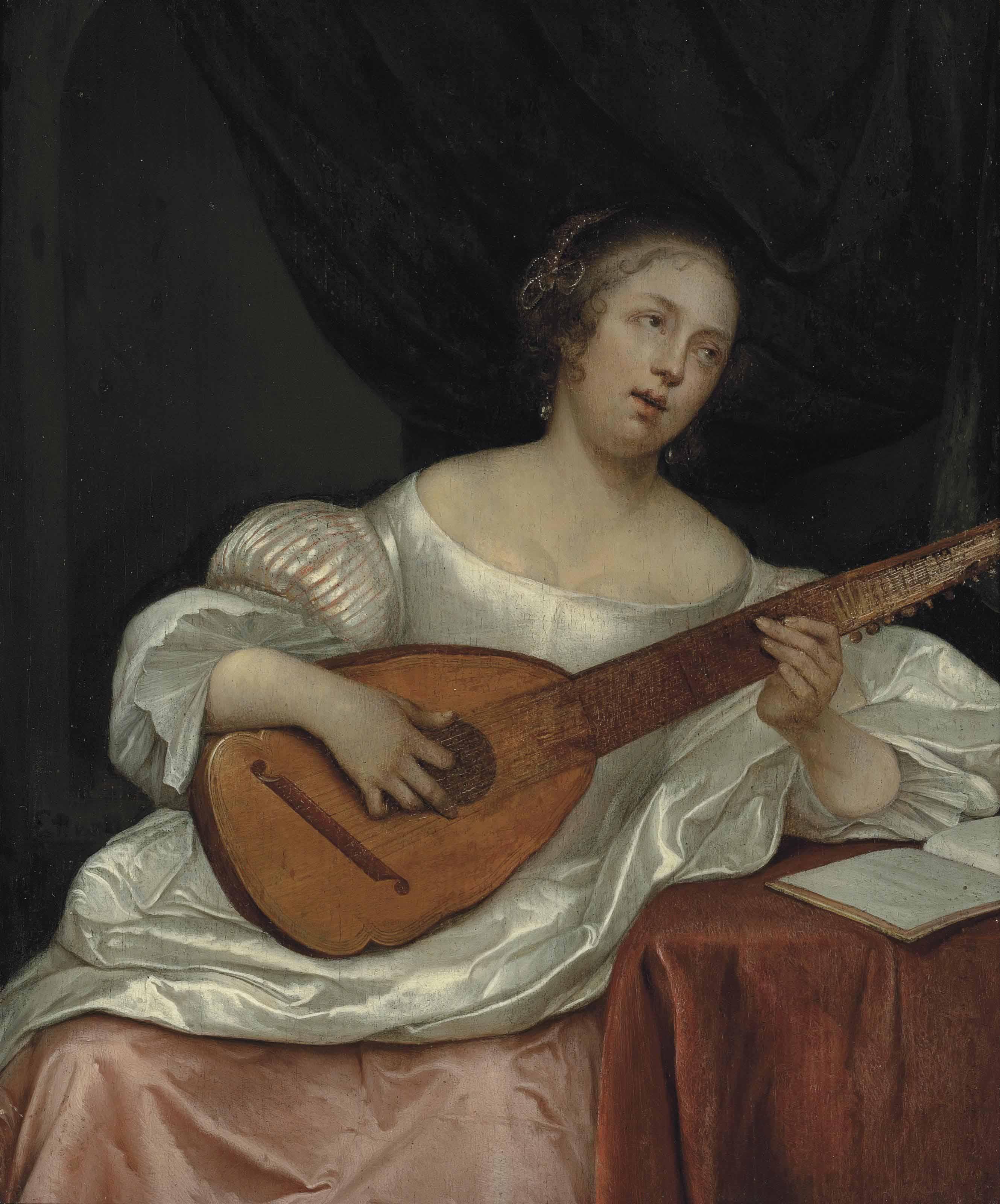 A woman playing a bandora