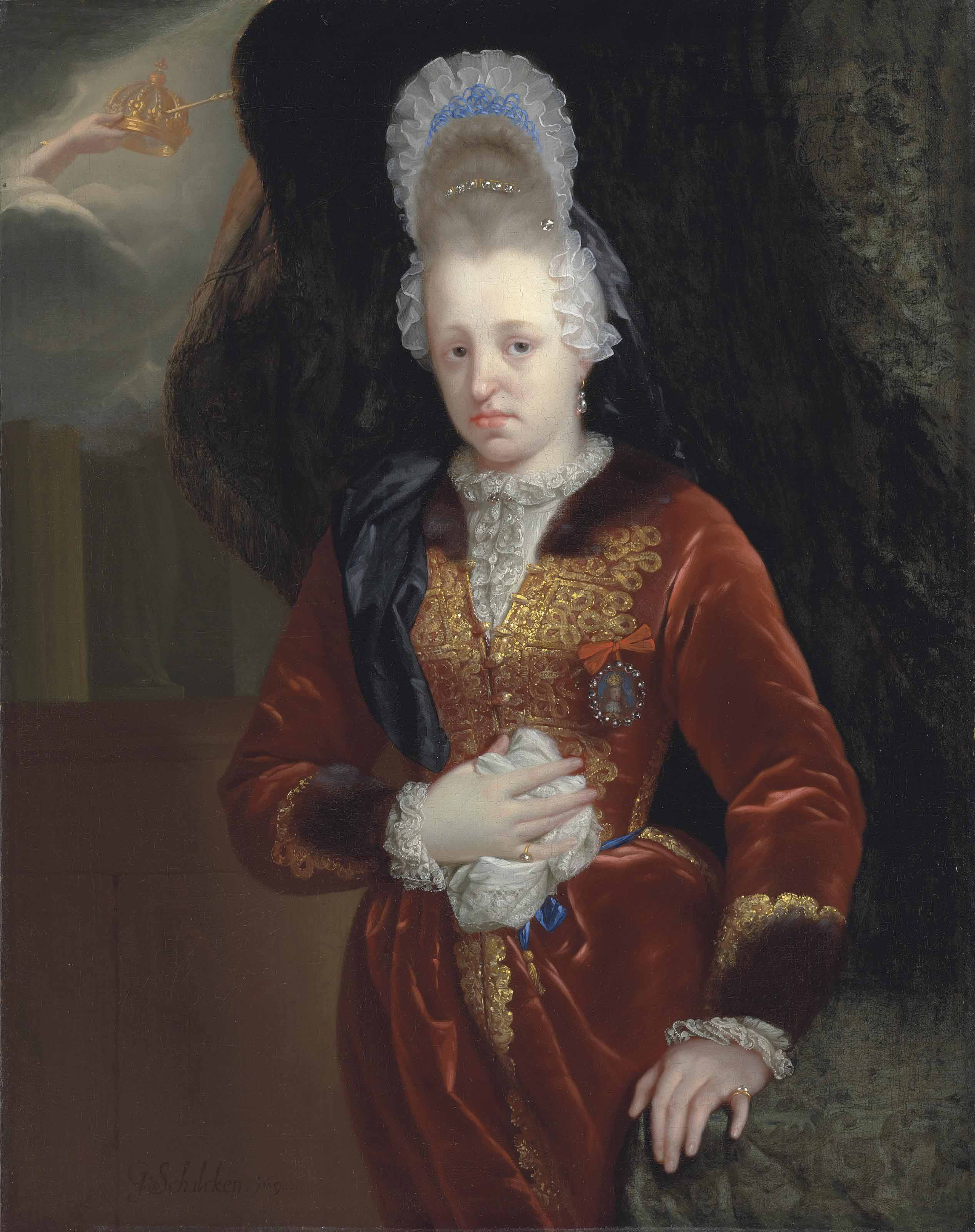 Portrait of Maria Anna of Pfalz-Neuburg (1667-1740), Consort of Carlos II of Spain, half-length, in a red embroidered dress