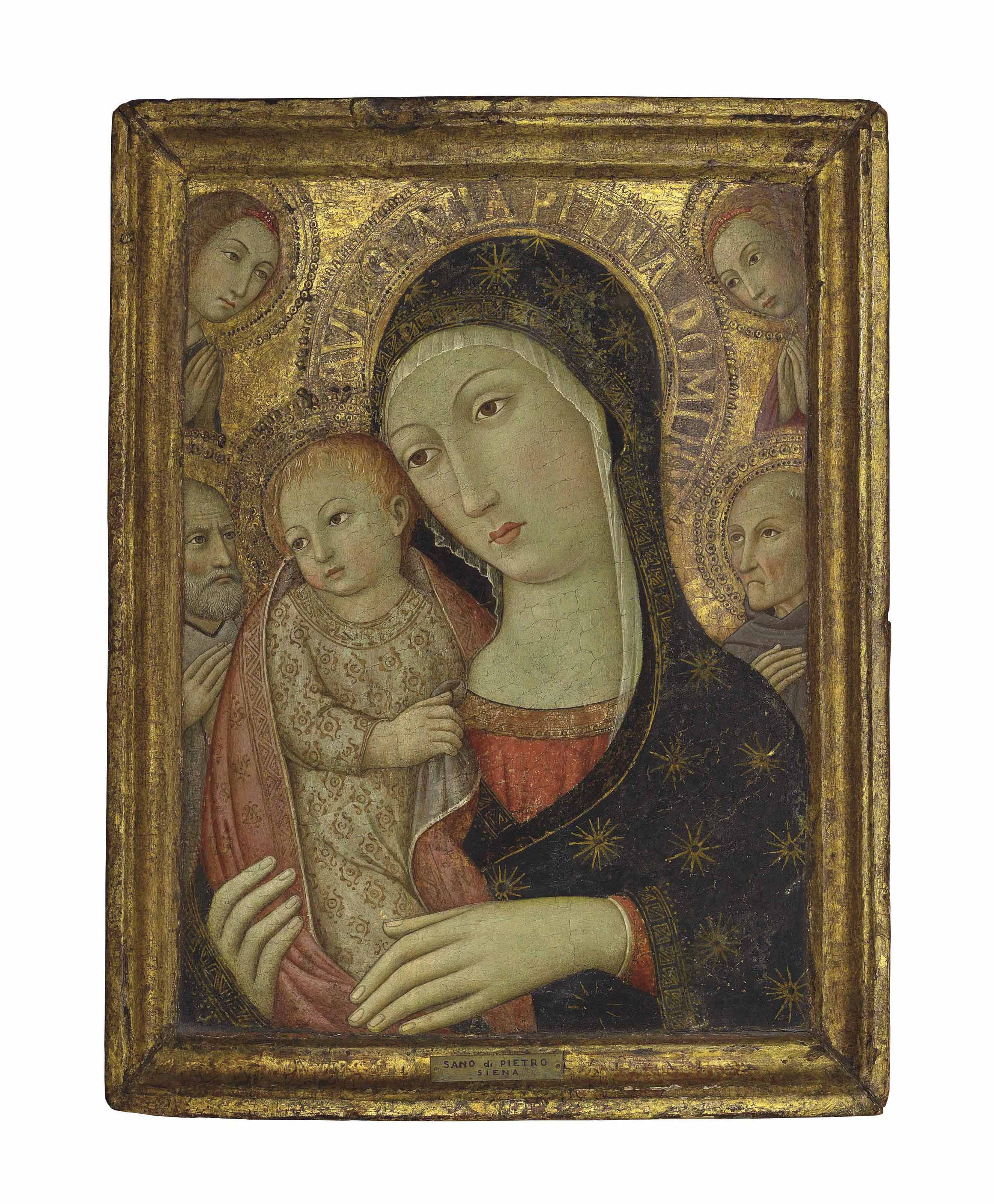 The Madonna and Child with Saint Bernardino of Siena, a male saint and two angels
