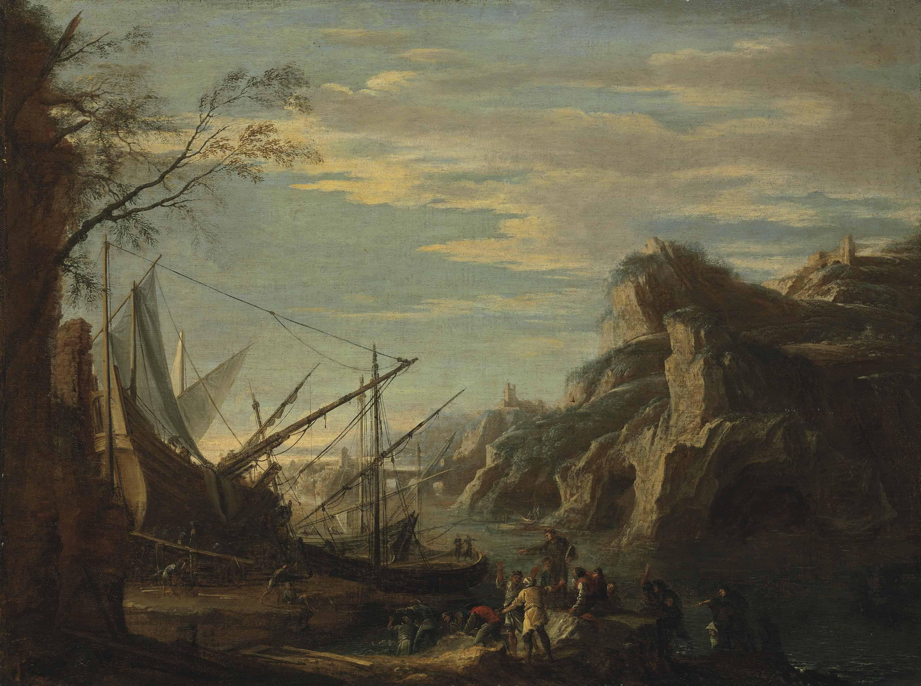 A rocky coastal landscape with figures building a boat, with Saint Anthony Preaching to the Fish