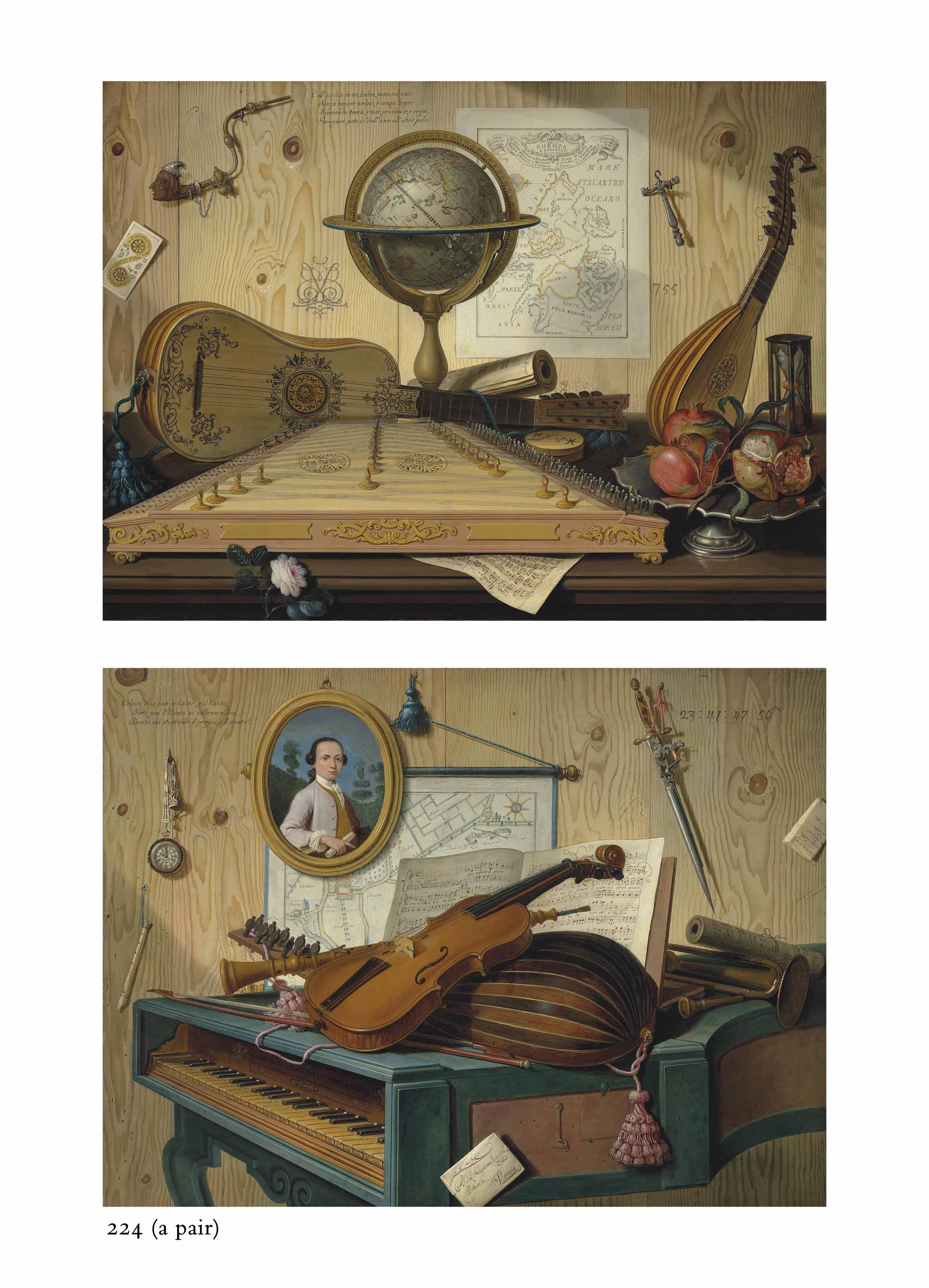 A trompe l'oeil of a zither, a guitar, a lute, a globe, with an hourglass and pewter platter with pomegranates on a wooden table, before a planked wall with a map of Europe and other objects; and A trompe l'oeil of a violin, a lute, a trumpet and an oboe on a harpsichord, before a planked wall with a portrait, a pocketwatch, a map and other objects
