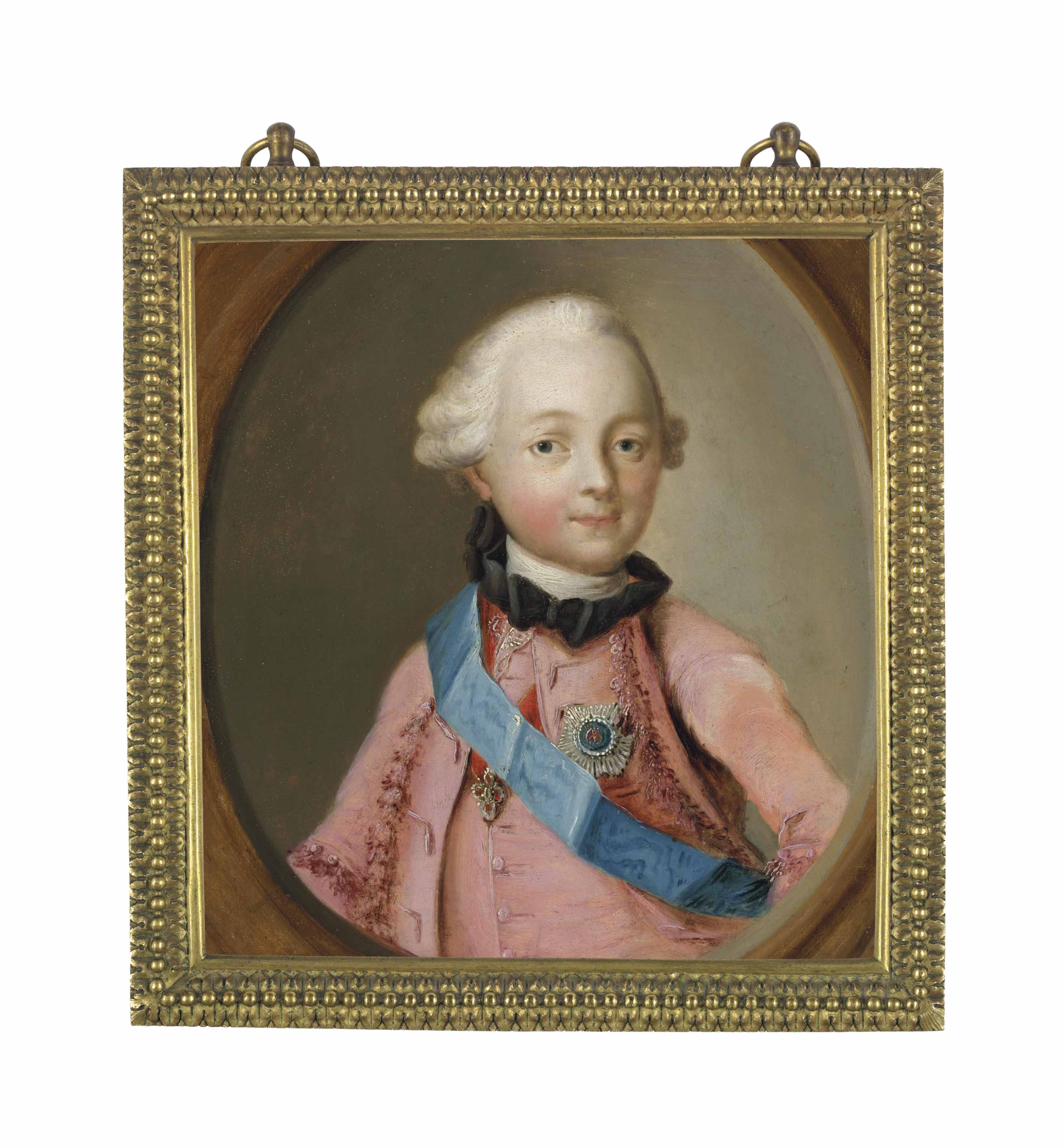 Portrait of Grand Duke Paul Petrovich, later Emperor Paul I of Russia (1754-1801), half-length, en deuil, in a pink coat, wearing the blue sash and star of the Order of Saint Andrew the First-Called, and the cross of the Order of Saint Anne