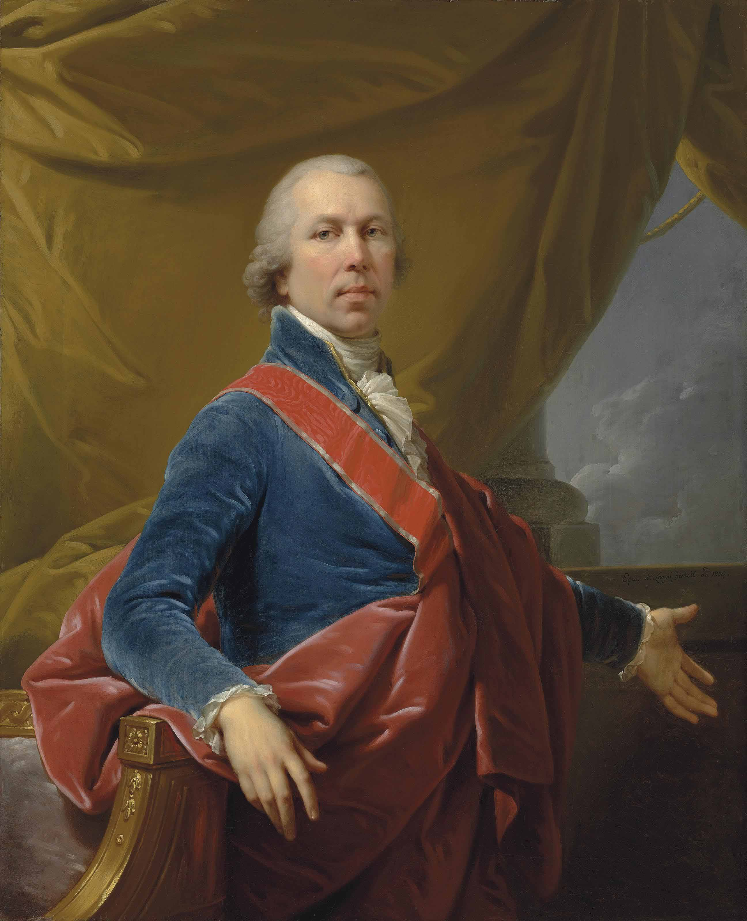 Portrait of a nobleman, half-length, in a blue velvet jacket and white stock, wearing the sash of the Order of Saint Stanislaus and a red mantle, before a draped curtain