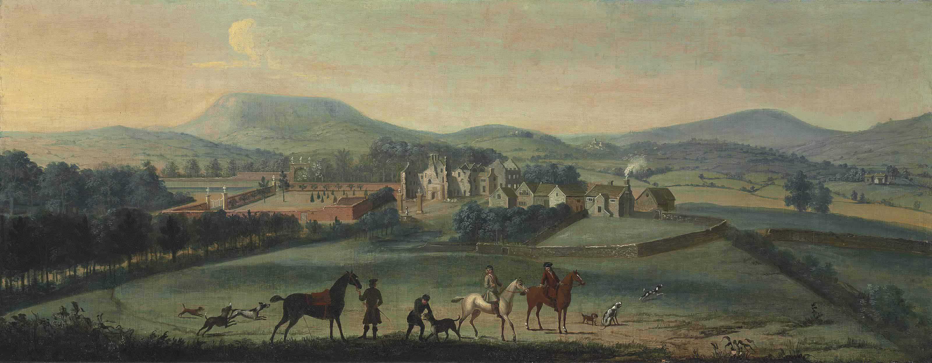 A view of the ruined Westby Hall, Yorkshire, with a hunting party in the foreground