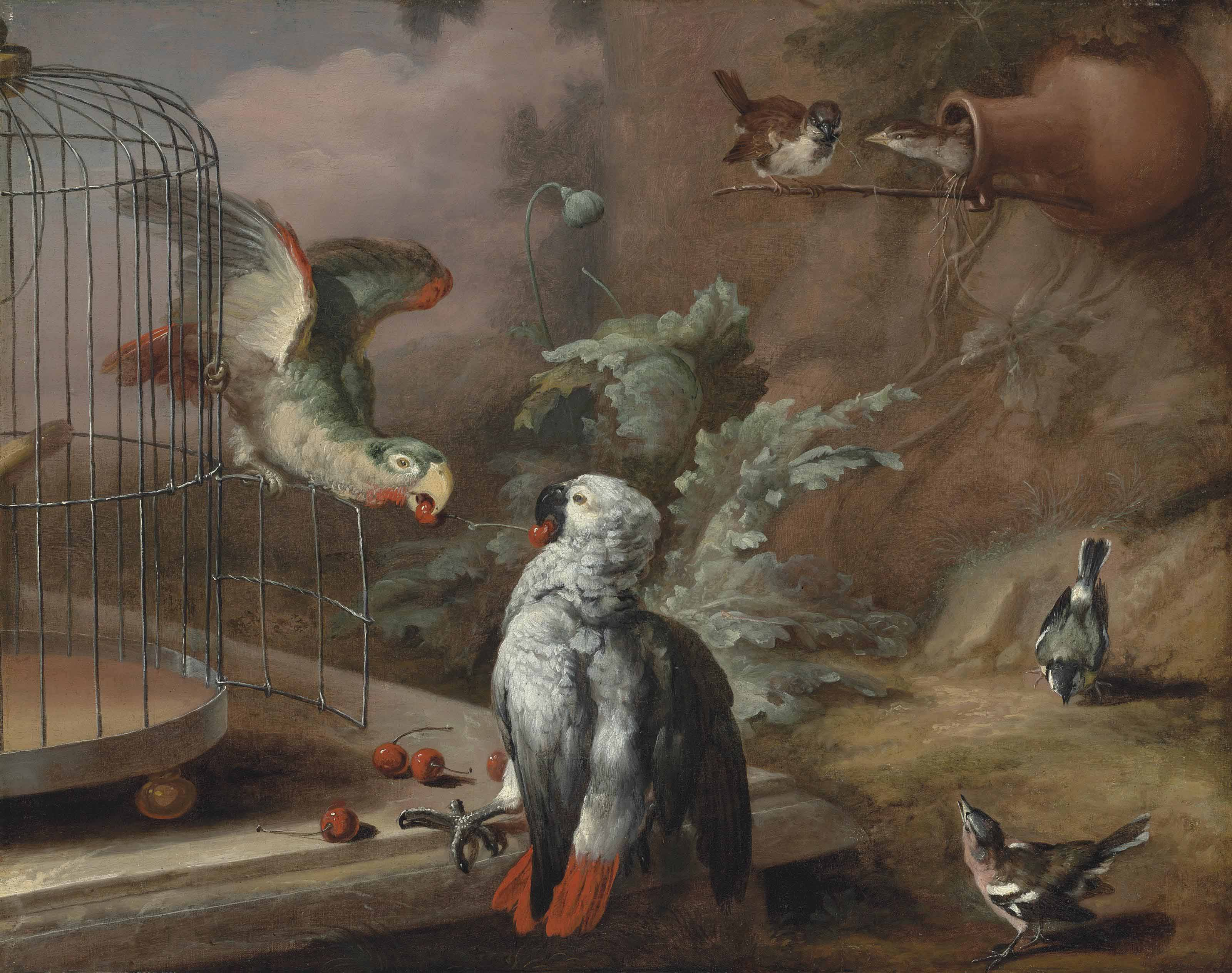 A grey parrot and an Amazon parrot with cherries by a cage on a marble ledge, with sparrows and other songbirds in a landscape