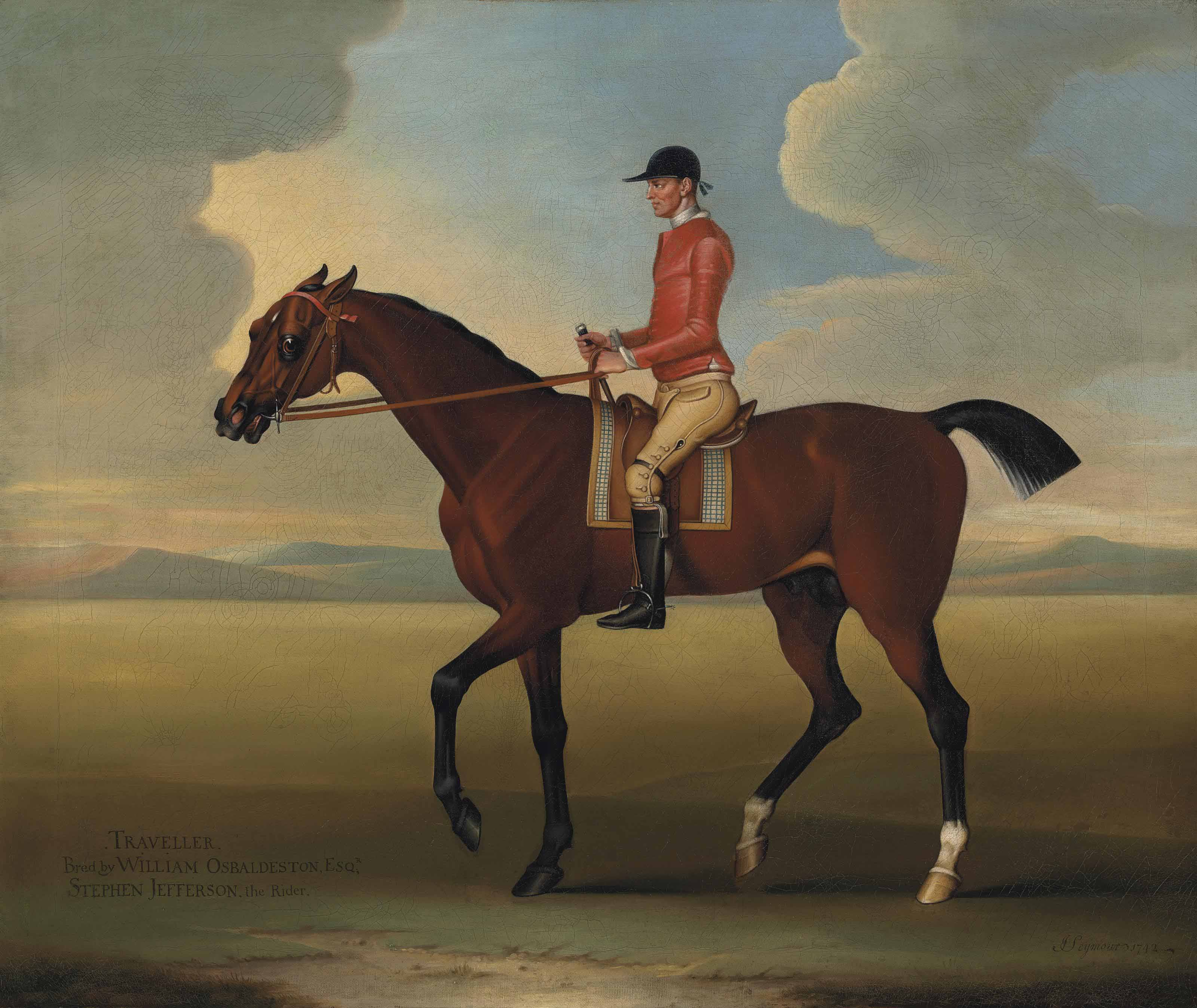 Traveller with Stephen Jefferson up, in a landscape