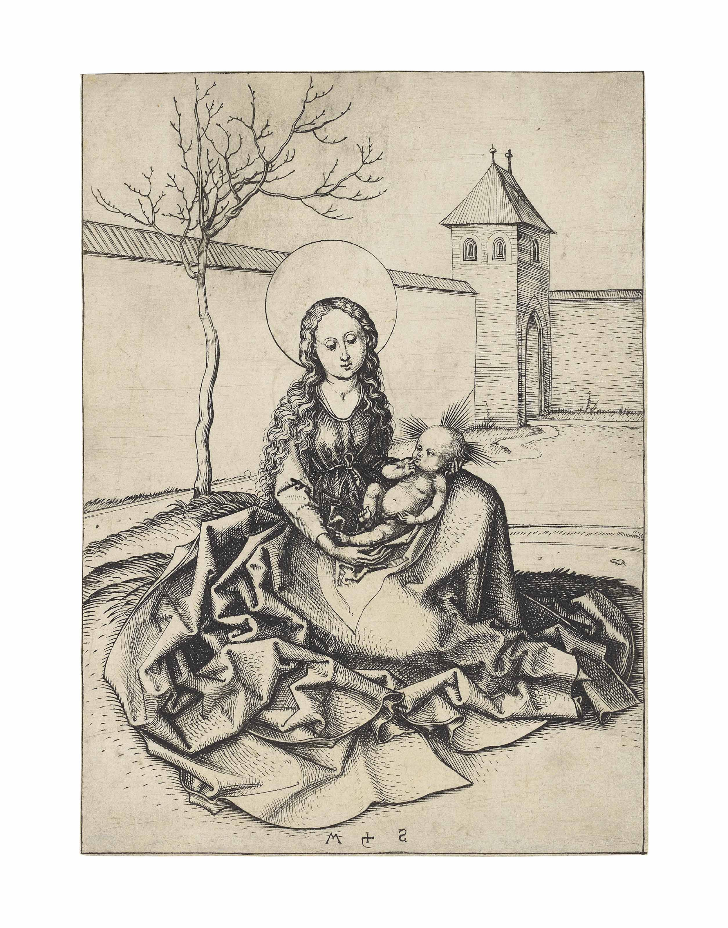 The Virgin and Child in a Courtyard (B. 32; L., Holl. 38)