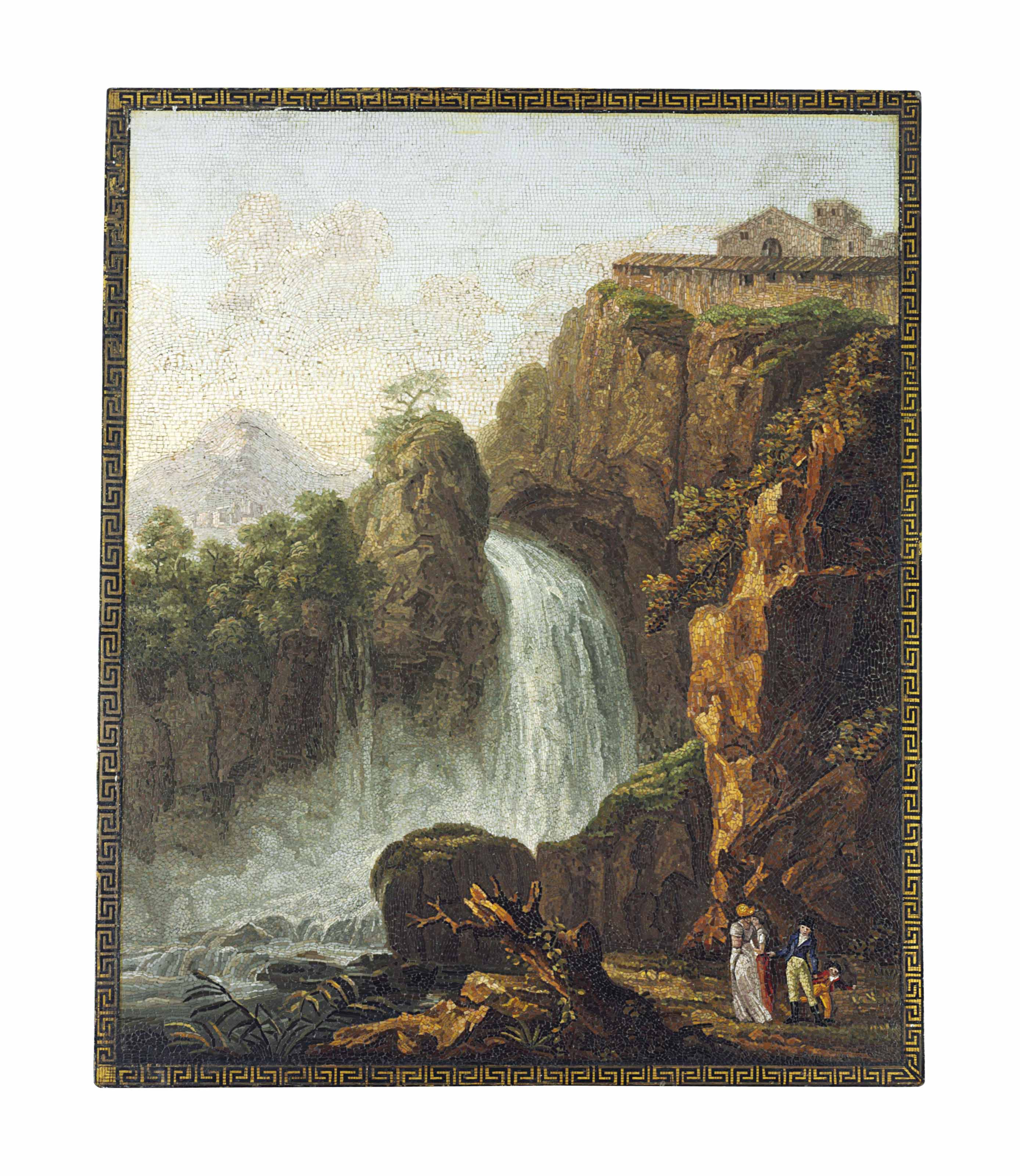 A MICROMOSAIC PANEL DEPICTING A WATERFALL
