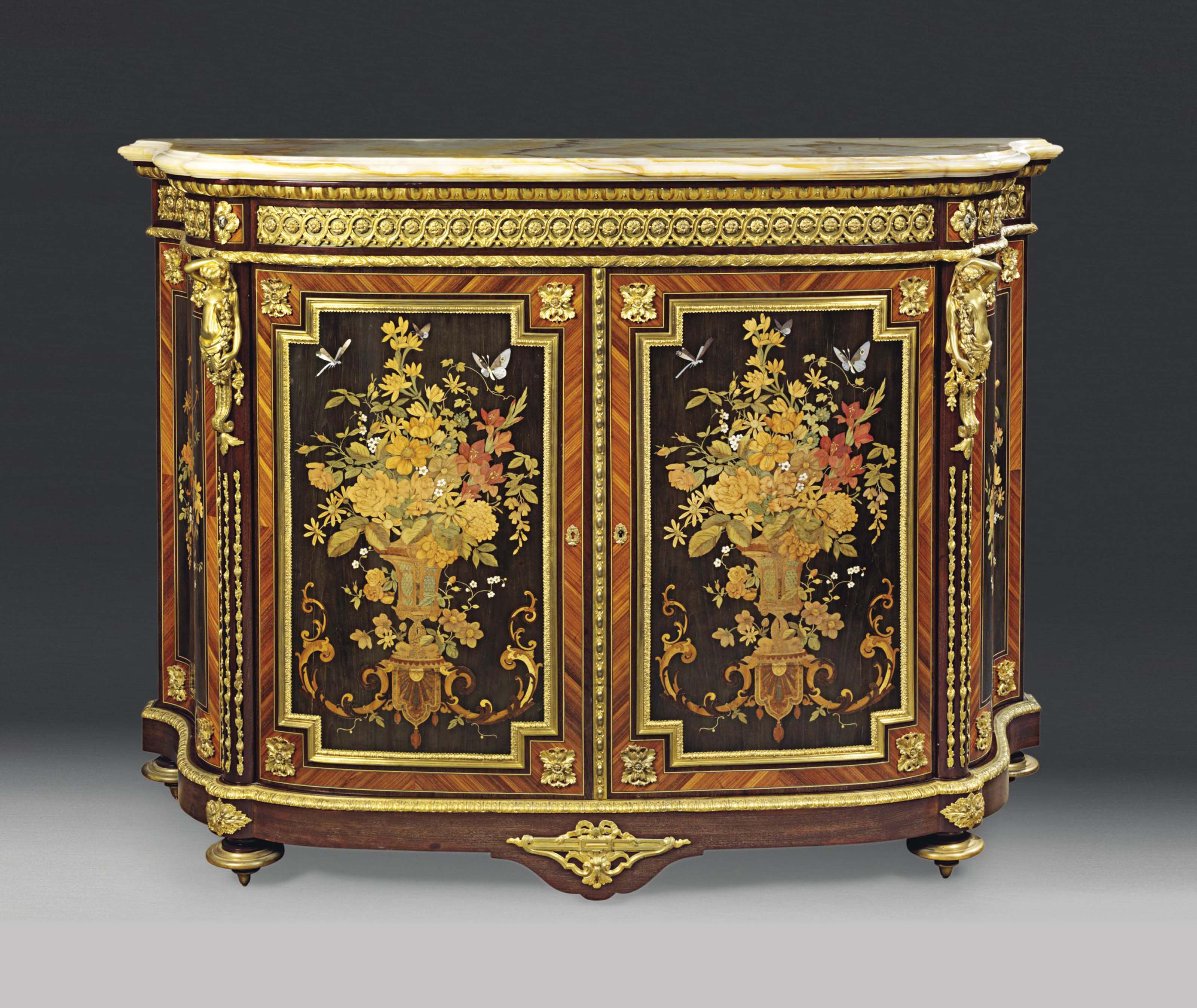 A LOUIS PHILIPPE ORMOLU-MOUNTED TULIPWOOD, EBONY, SYCAMORE, AMARANTH, MOTHER-OF-PEARL, IVORY AND MARQUETRY MEUBLE D'APPUI