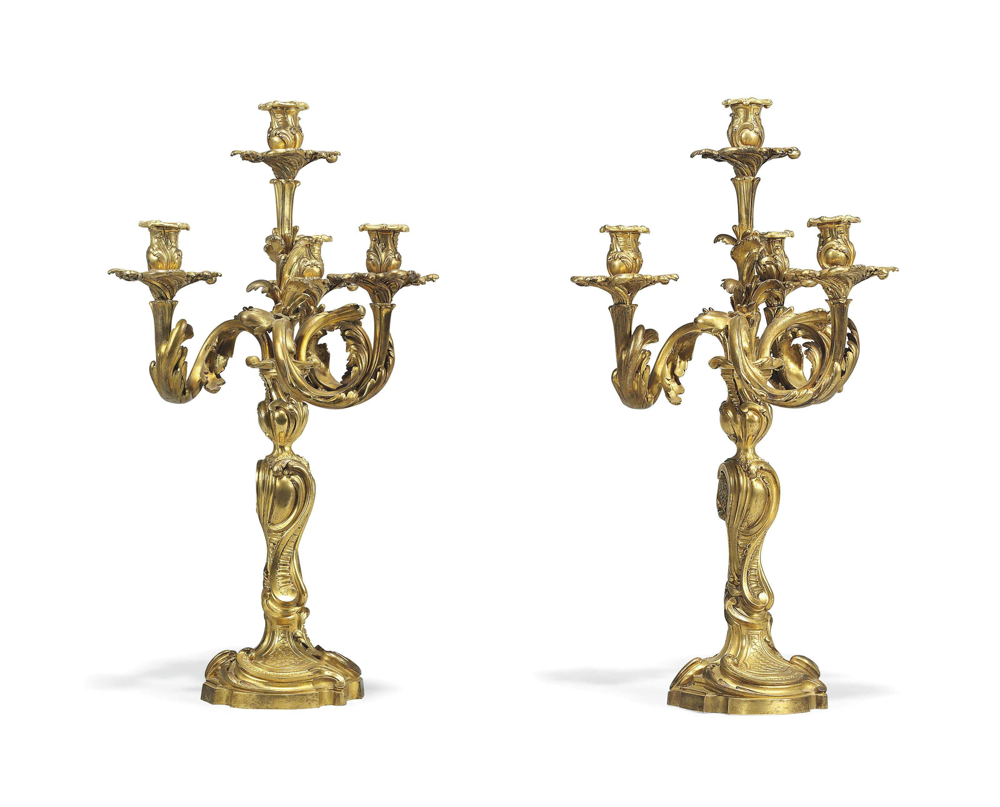 A PAIR OF FRENCH ORMOLU FOUR-L