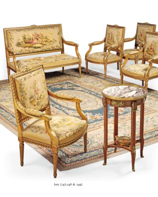 A FRENCH FLAT WOVEN CARPET OF