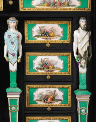 A GERMAN ORMOLU AND PORCELAIN-