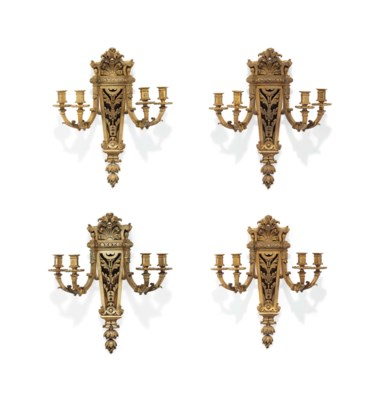 A SET OF FOUR FRENCH ORMOLU FO