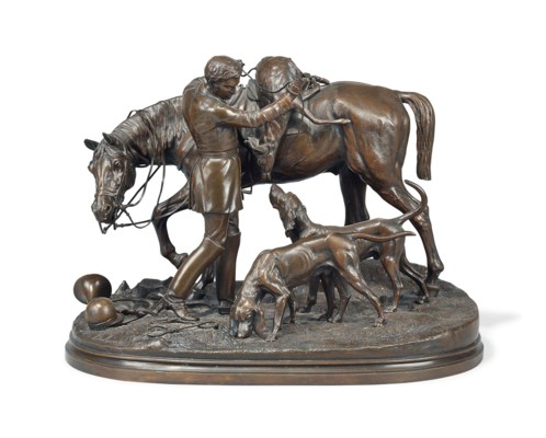 A LARGE FRENCH BRONZE EQUESTRI