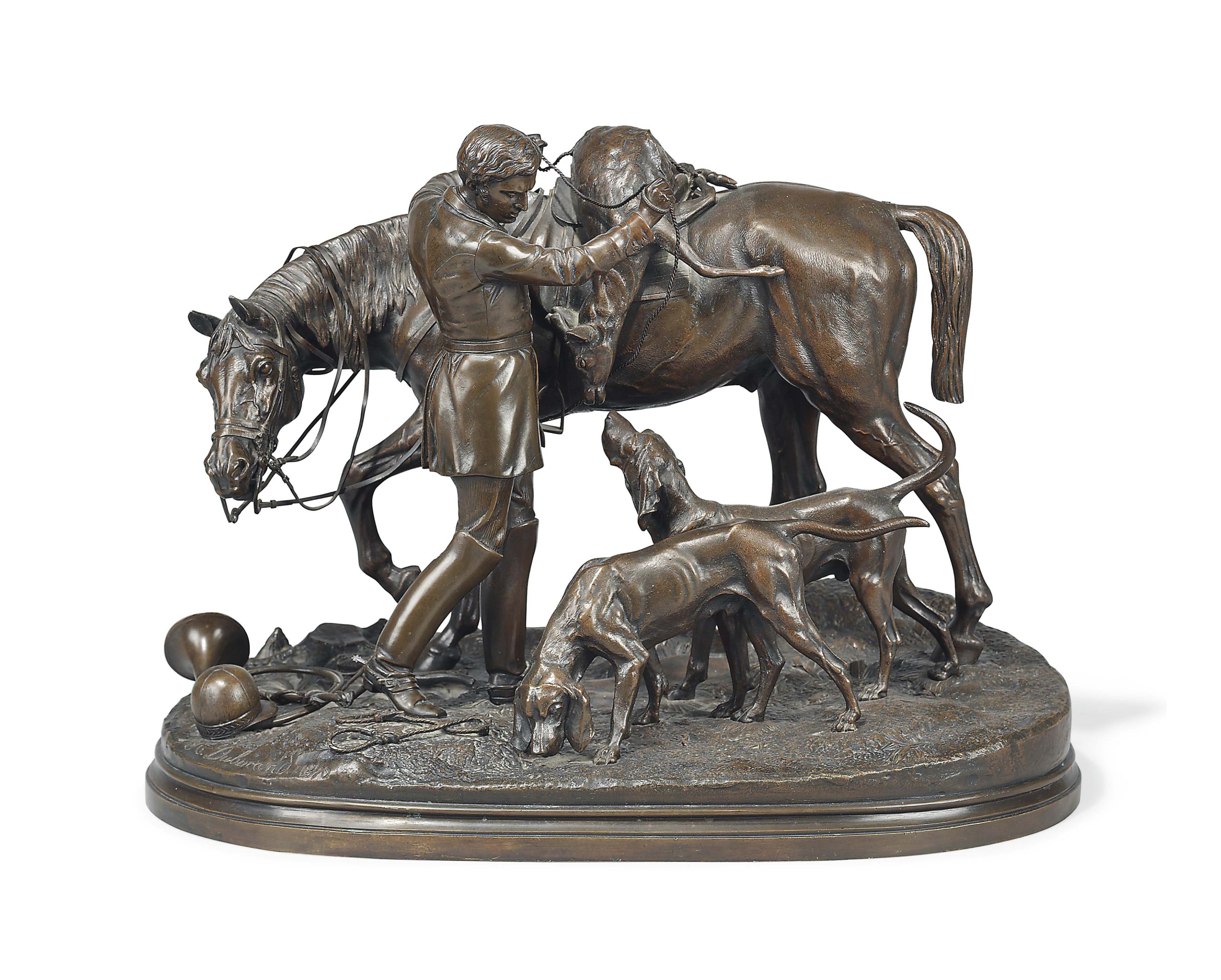 A LARGE FRENCH BRONZE EQUESTRIAN GROUP OF A YOUNG HUNTSMAN AND HOUNDS, ENTITLED 'LE RETOUR DE LA CHASSE A COURRE'