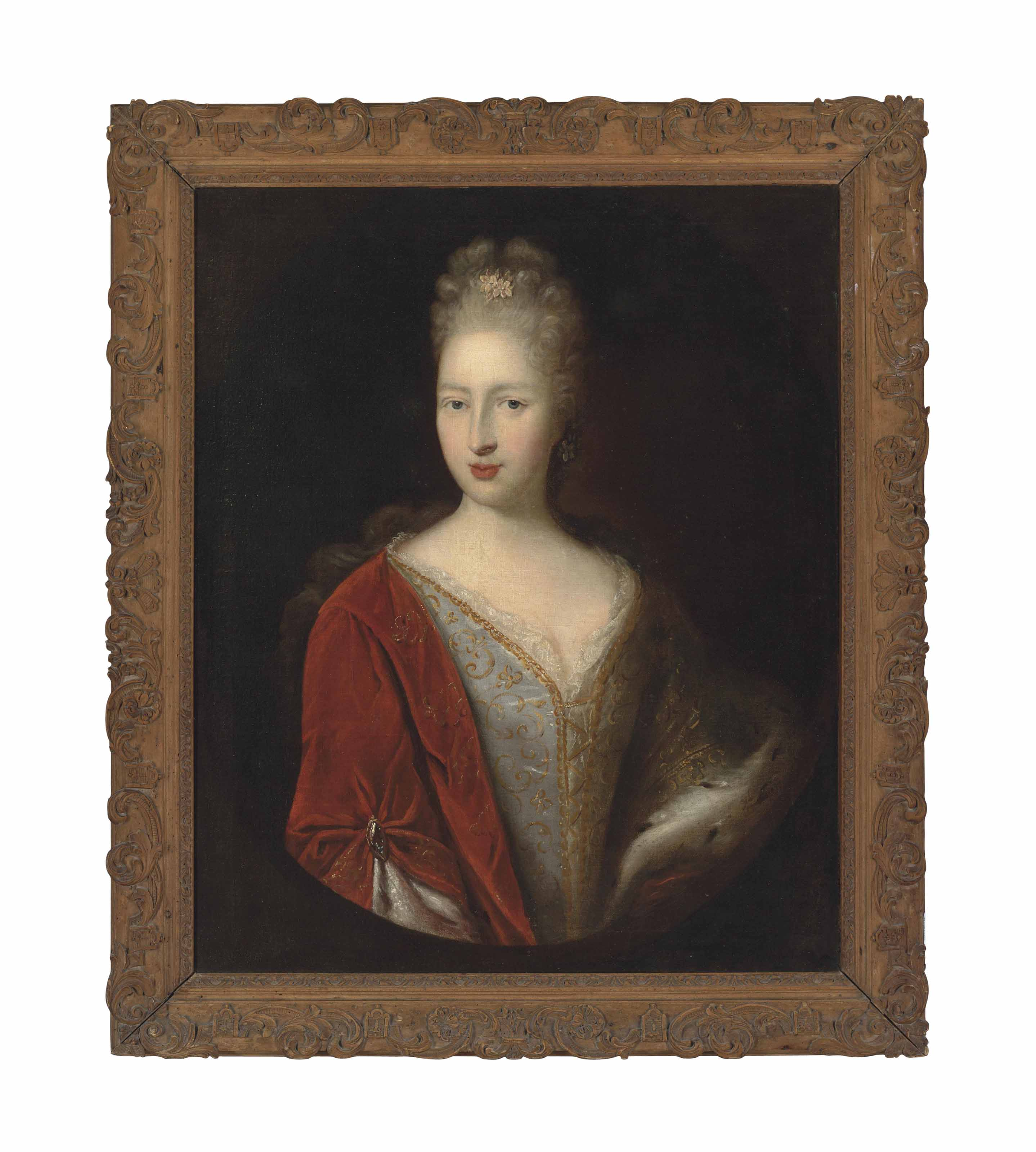 Portrait of a lady, half-length, in a blue embroidered dress and red cloak, with an ermine stole, in a feigned oval