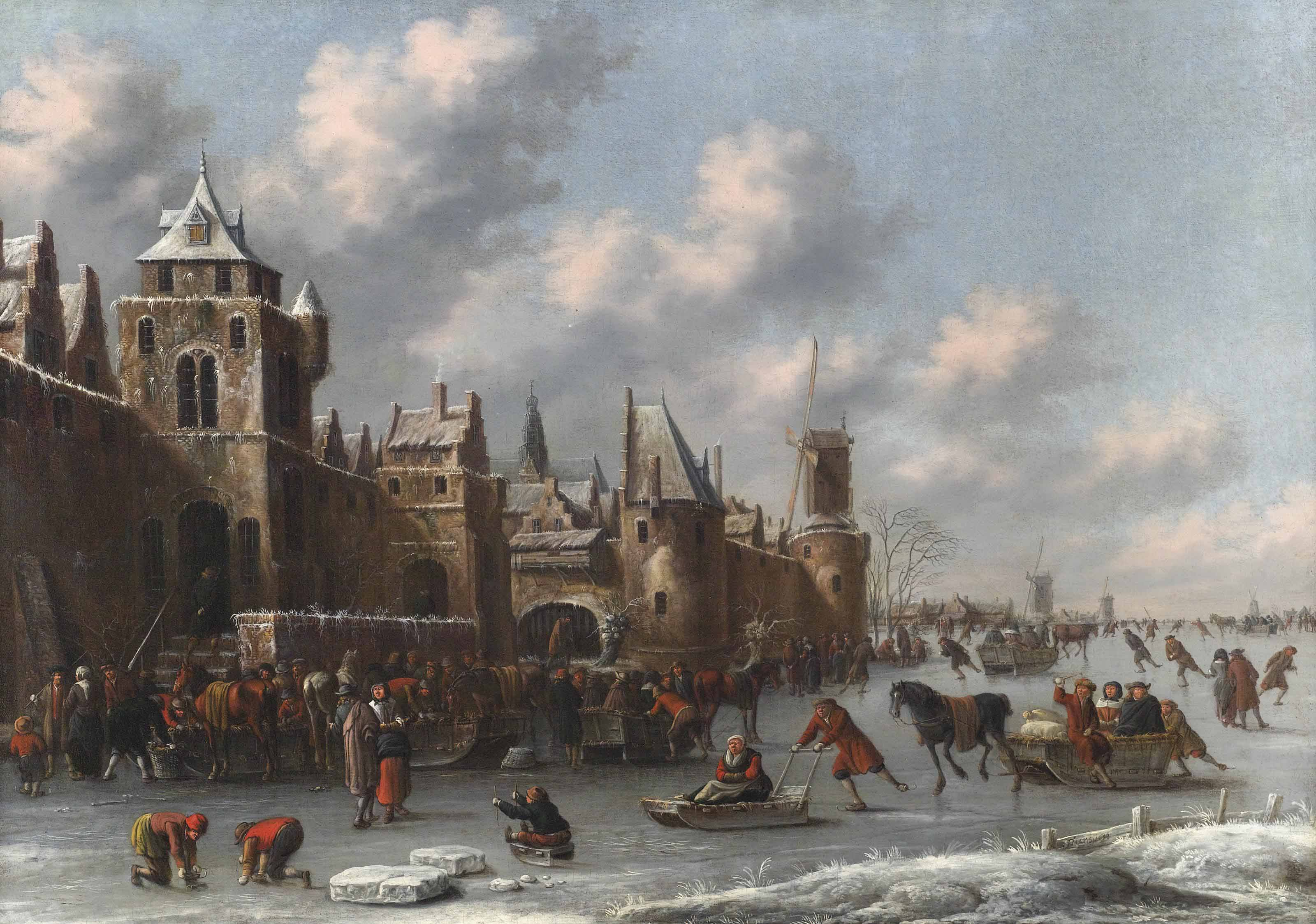 A winter landscape with figures skating and sledging on a frozen moat by a fortified town