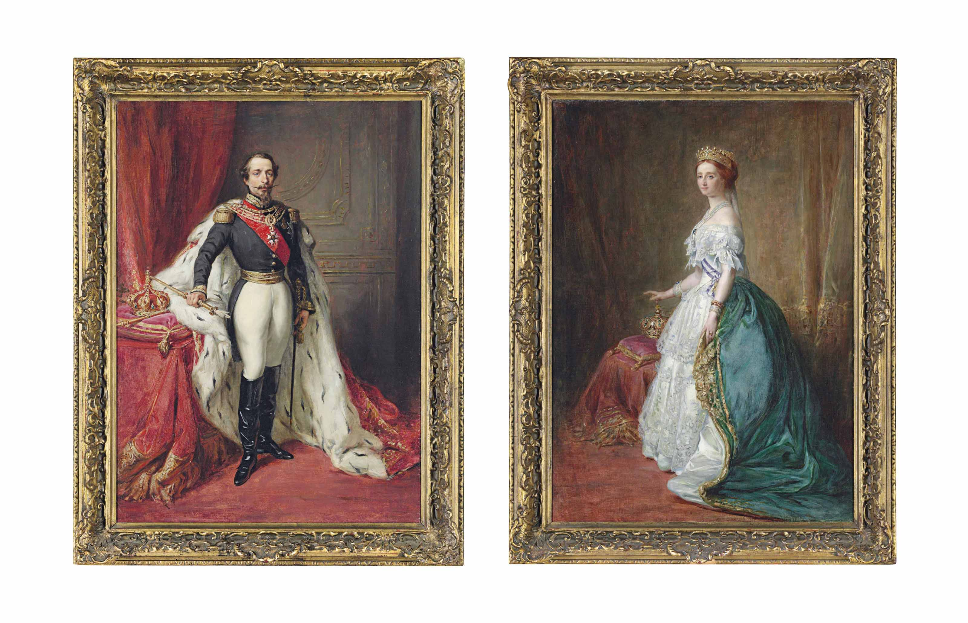 Portrait of The Emperor Napoleon III; and Portrait of his wife The Empress Eugenie