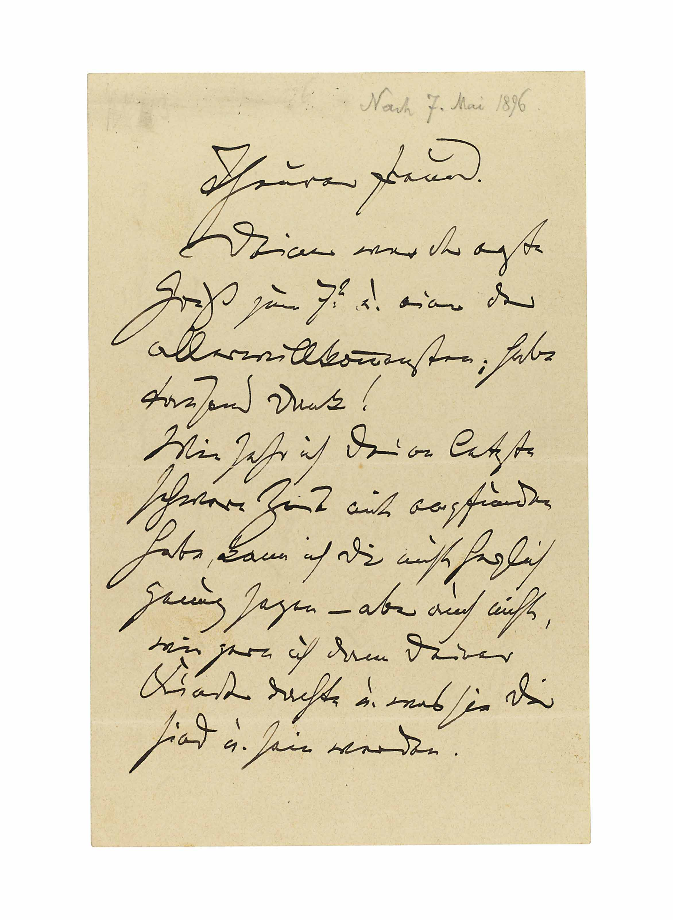 BRAHMS, Johannes (1833-1897). Autograph letter signed ('Dein / Johannes') to an unidentified recipient ('Theurer Freund'), n.p., n.d. [dated in pencil 'Nach 7. Mai 1896'], 2½ pages, 8vo, bifolium.