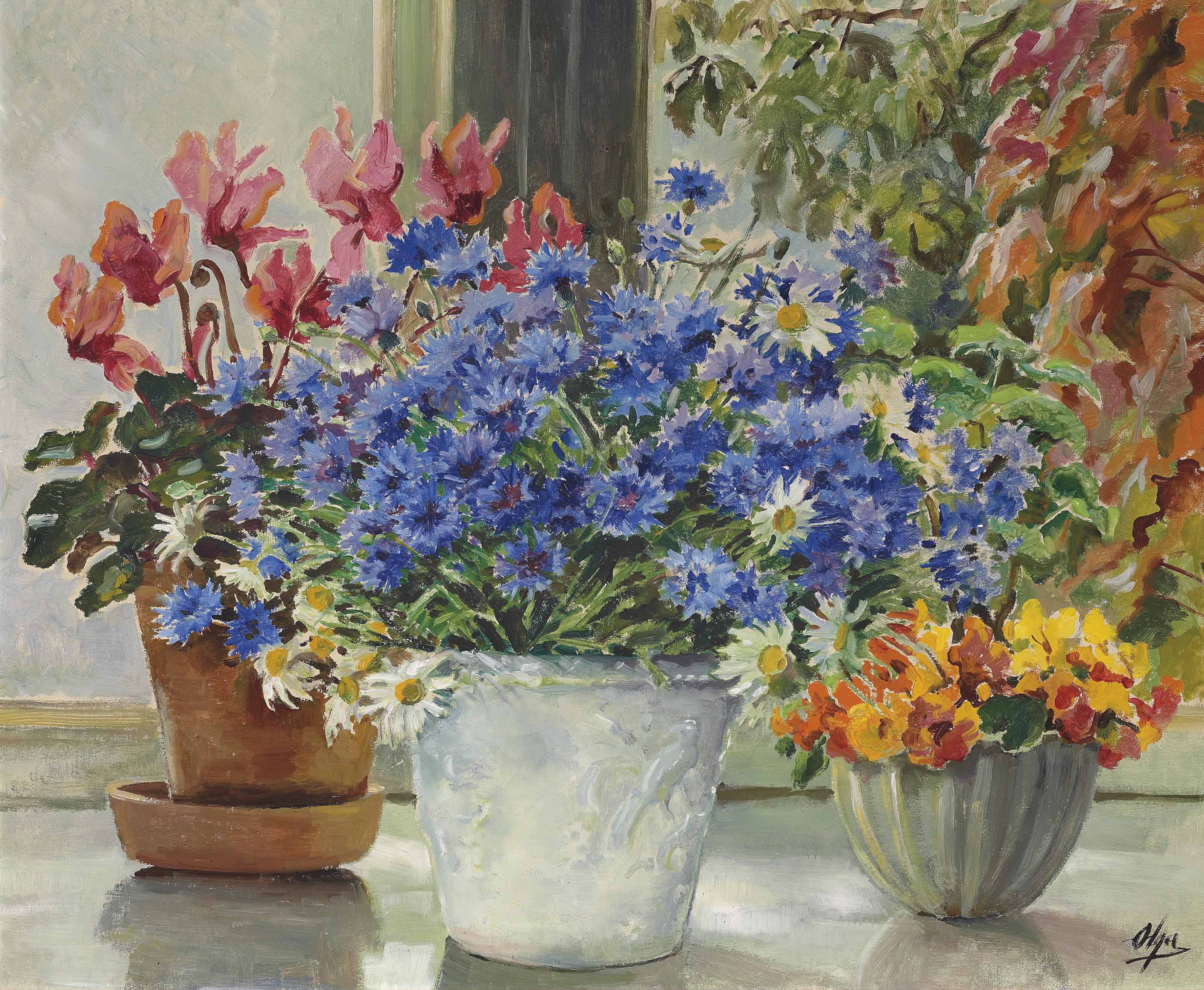 Still life with cornflowers, Michaelmas daisies, cyclamen and nasturtiums