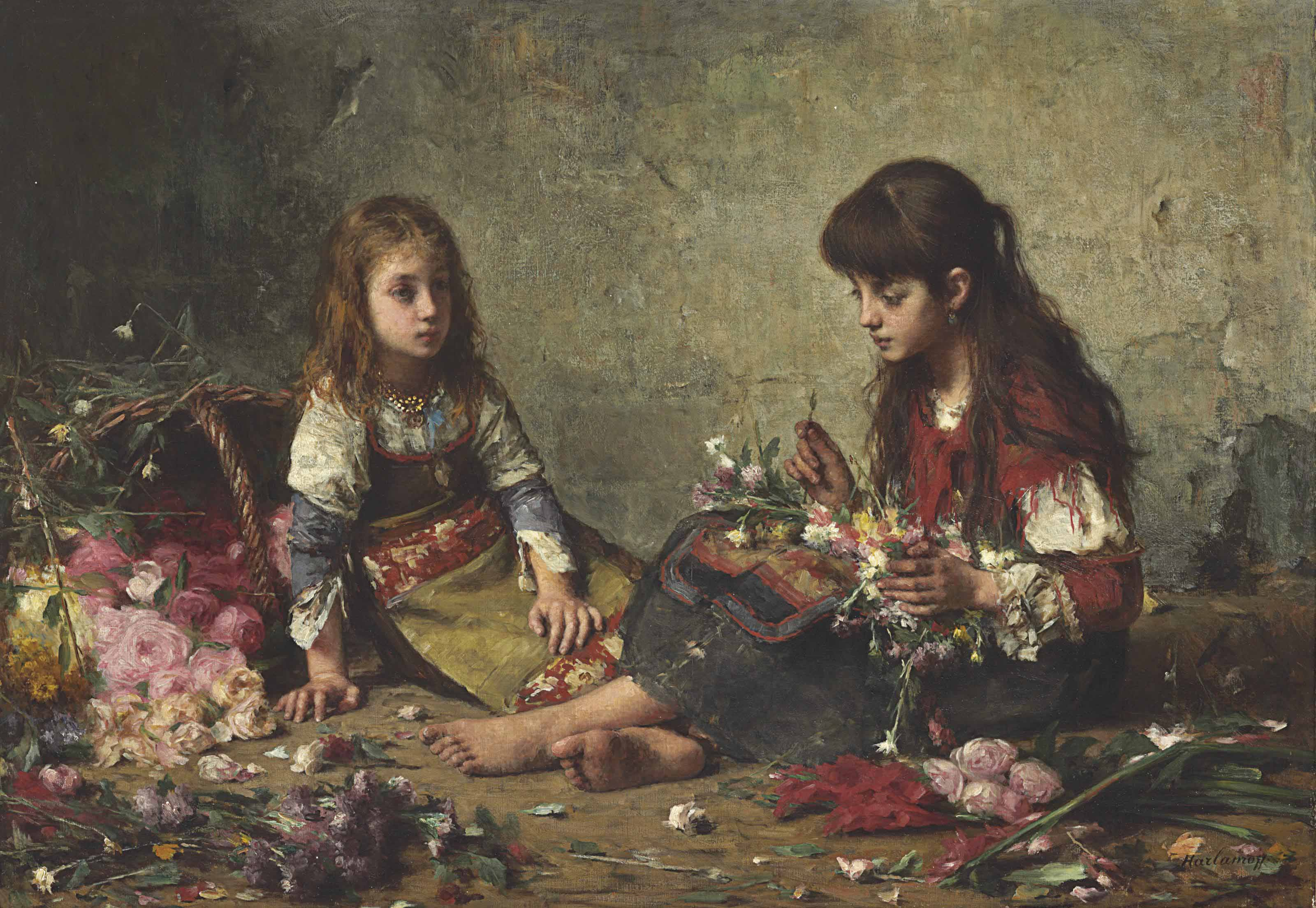 Two girls arranging flowers