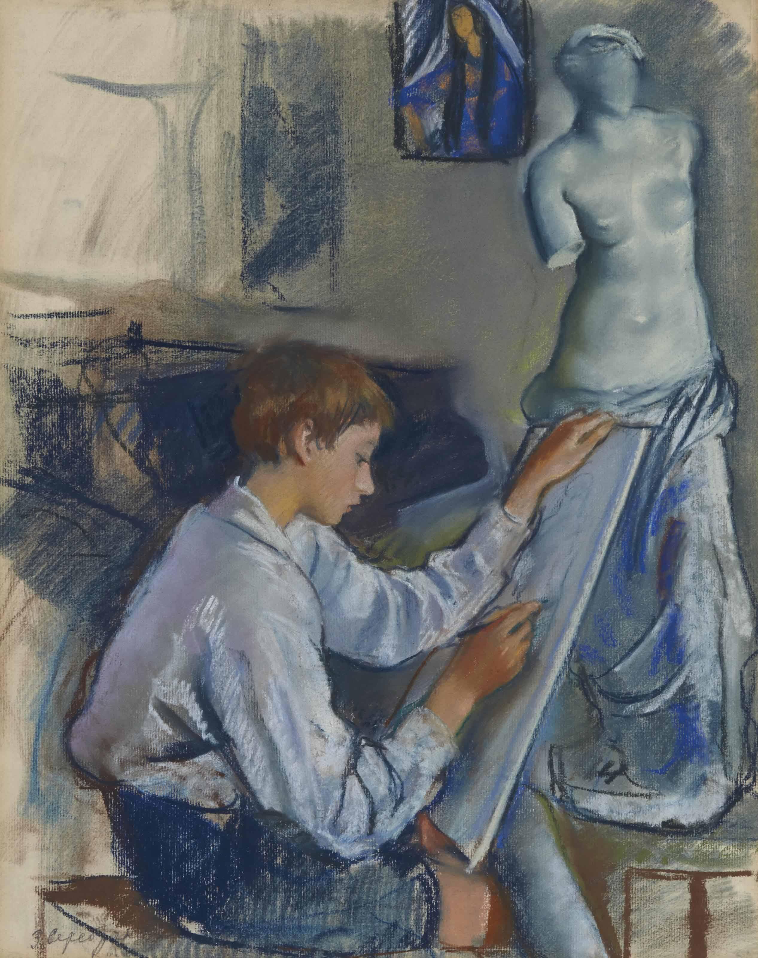 Portrait of the artist's son Alexandre sketching in the artist's studio