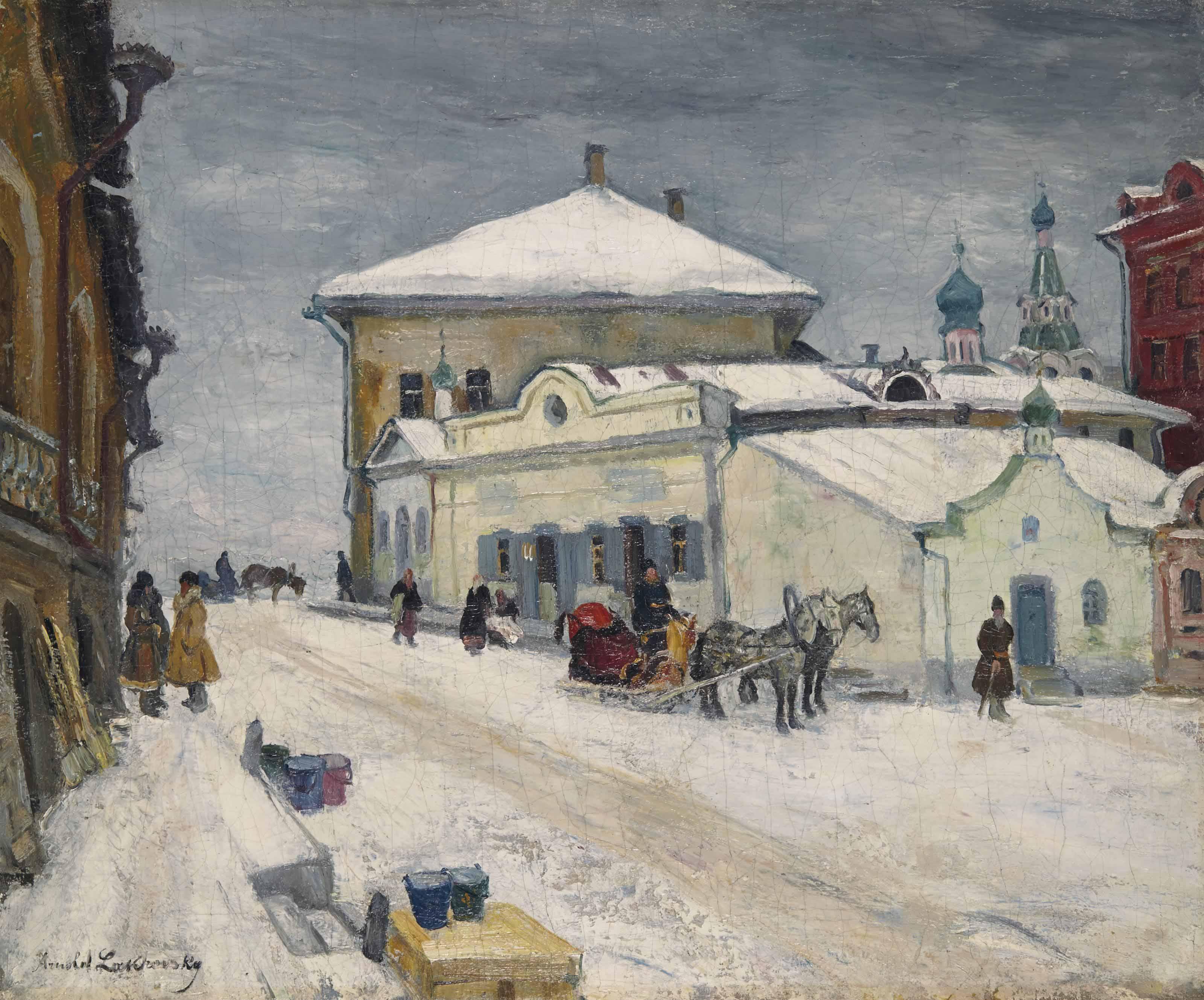 A snowy village