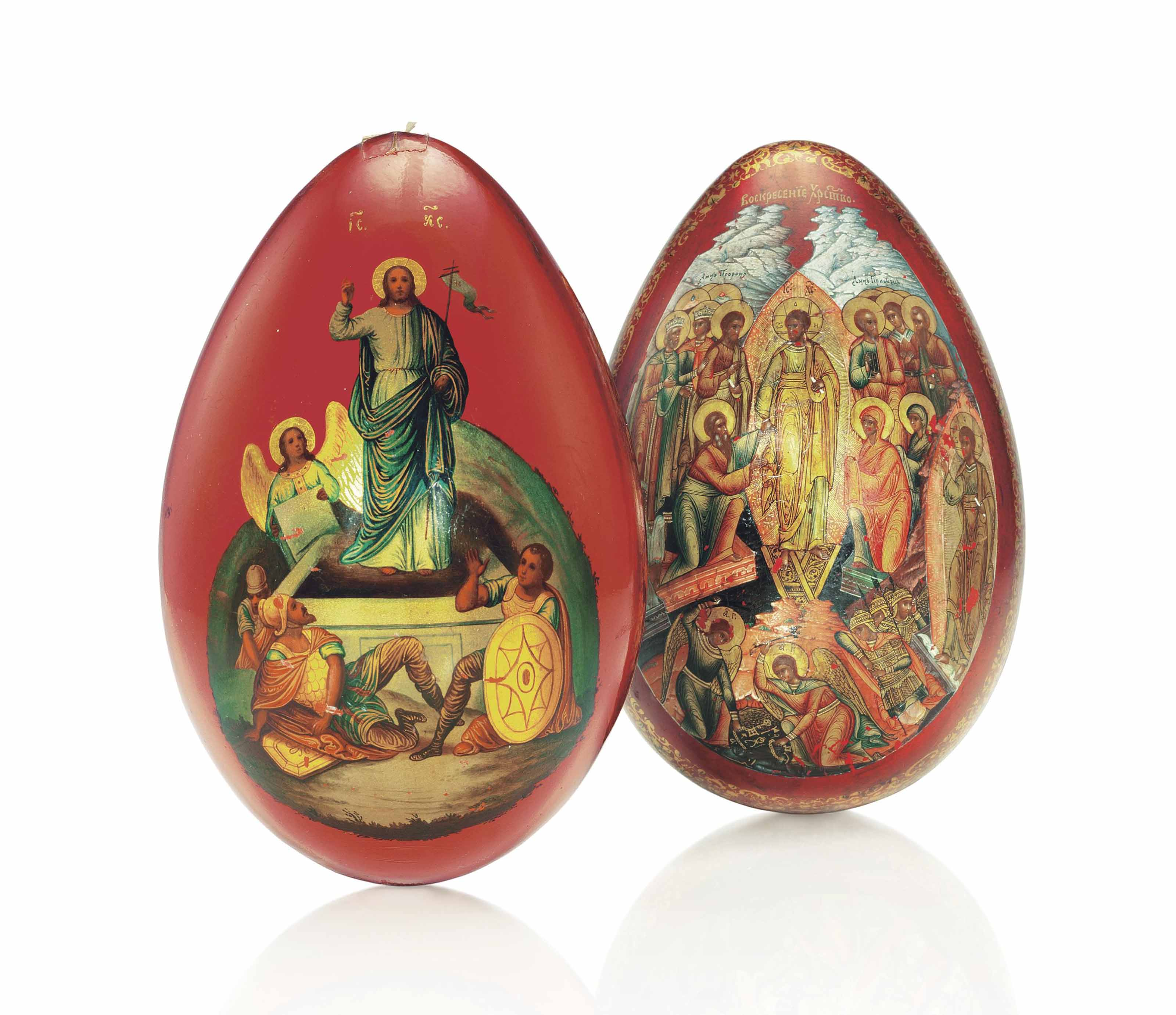 TWO PAPIER-MACHE EASTER EGGS