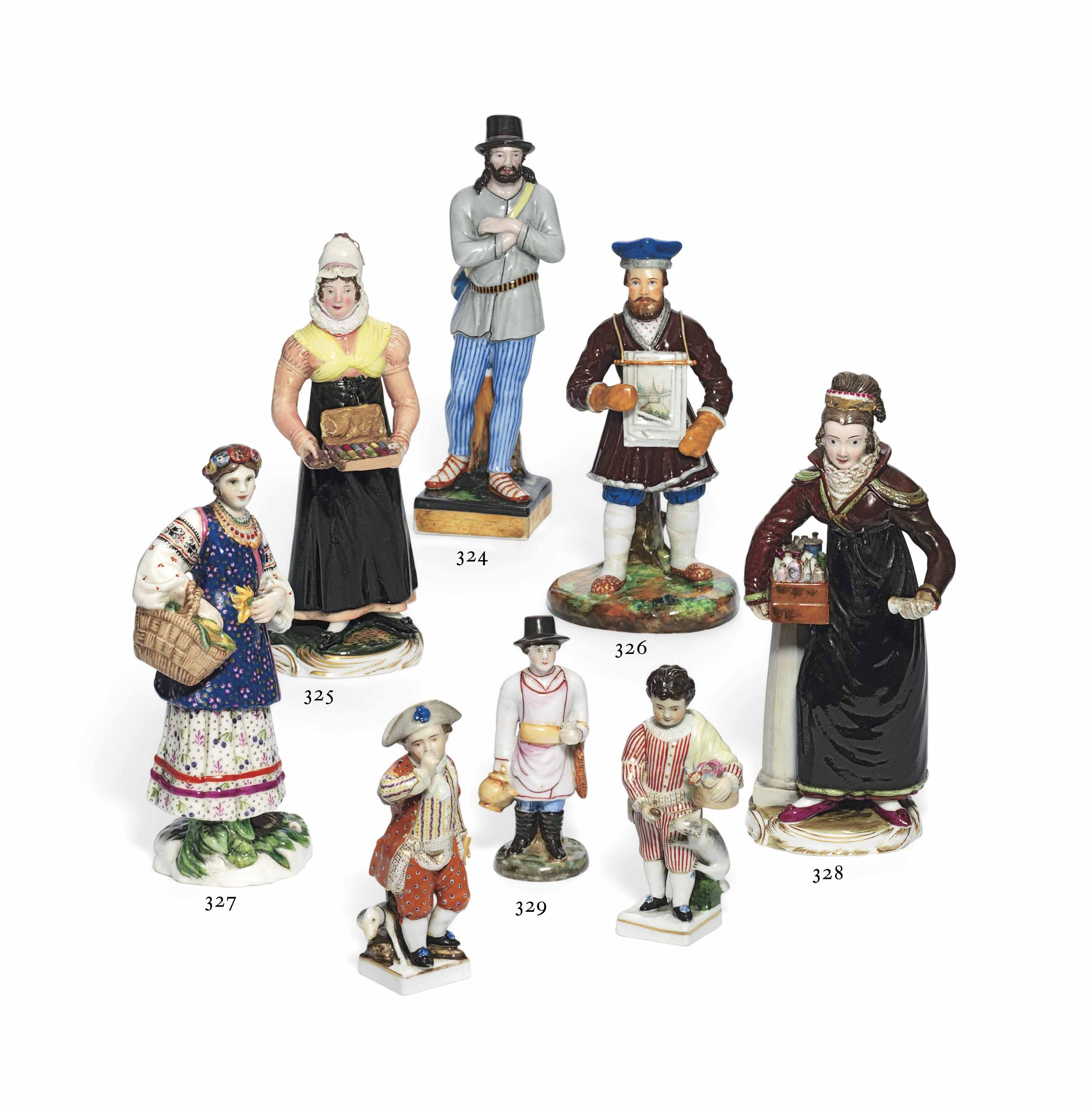 A PORCELAIN FIGURE OF A SELLER OF COSMETICS