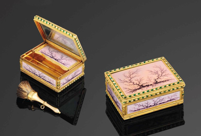 A Louis XVI double-opening enamelled gold boite-a-mouches, makers mark indistinct, Paris, 17781779, with the charge and décharge marks of Jean Baptiste Fouache 1774-1780. 2⅜ in (55 mm) wide. Sold for £20,000 on 26-27 November 2013  at Christie's in London
