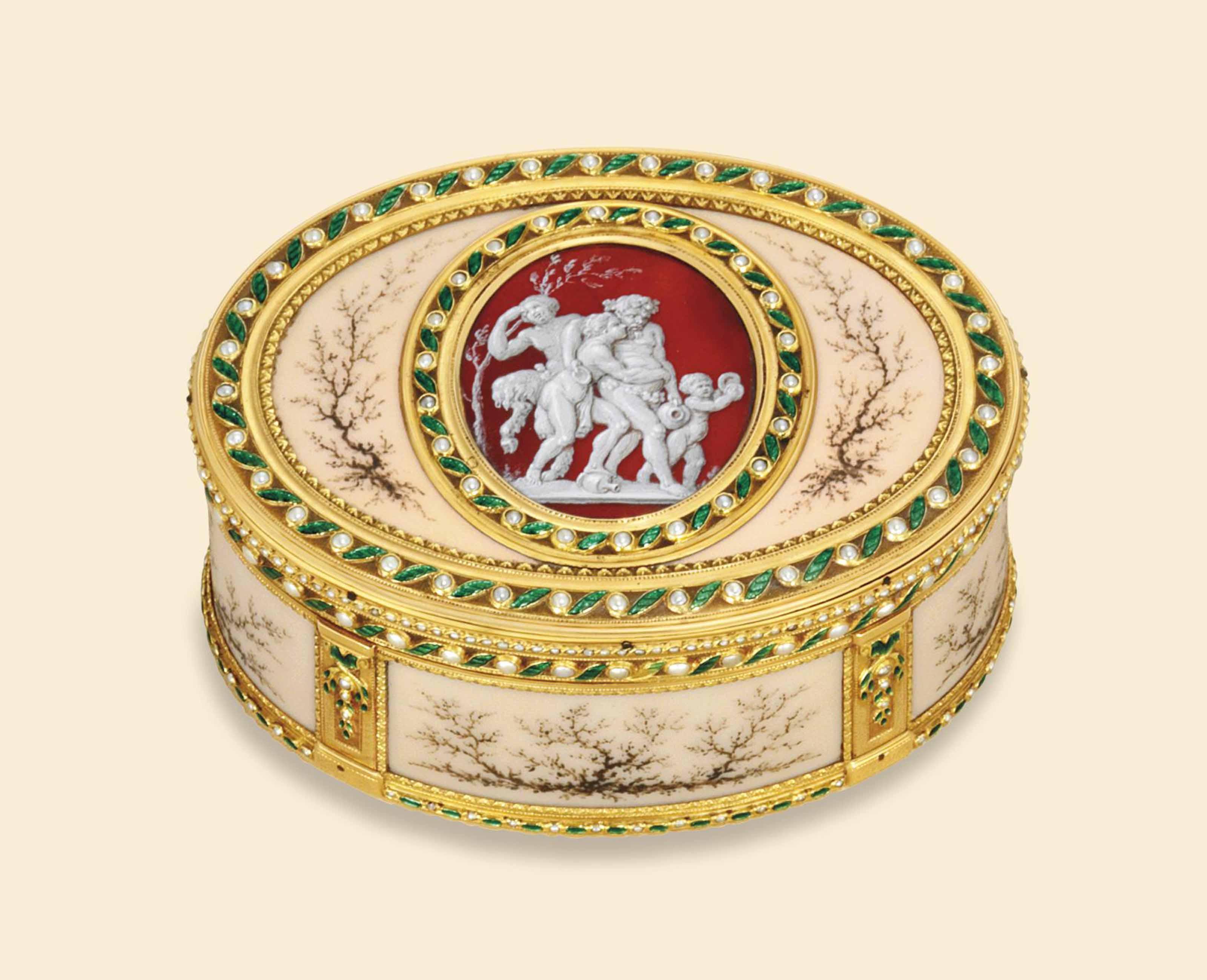 A LOUIS XVI JEWELLED ENAMELLED GOLD SNUFF-BOX
