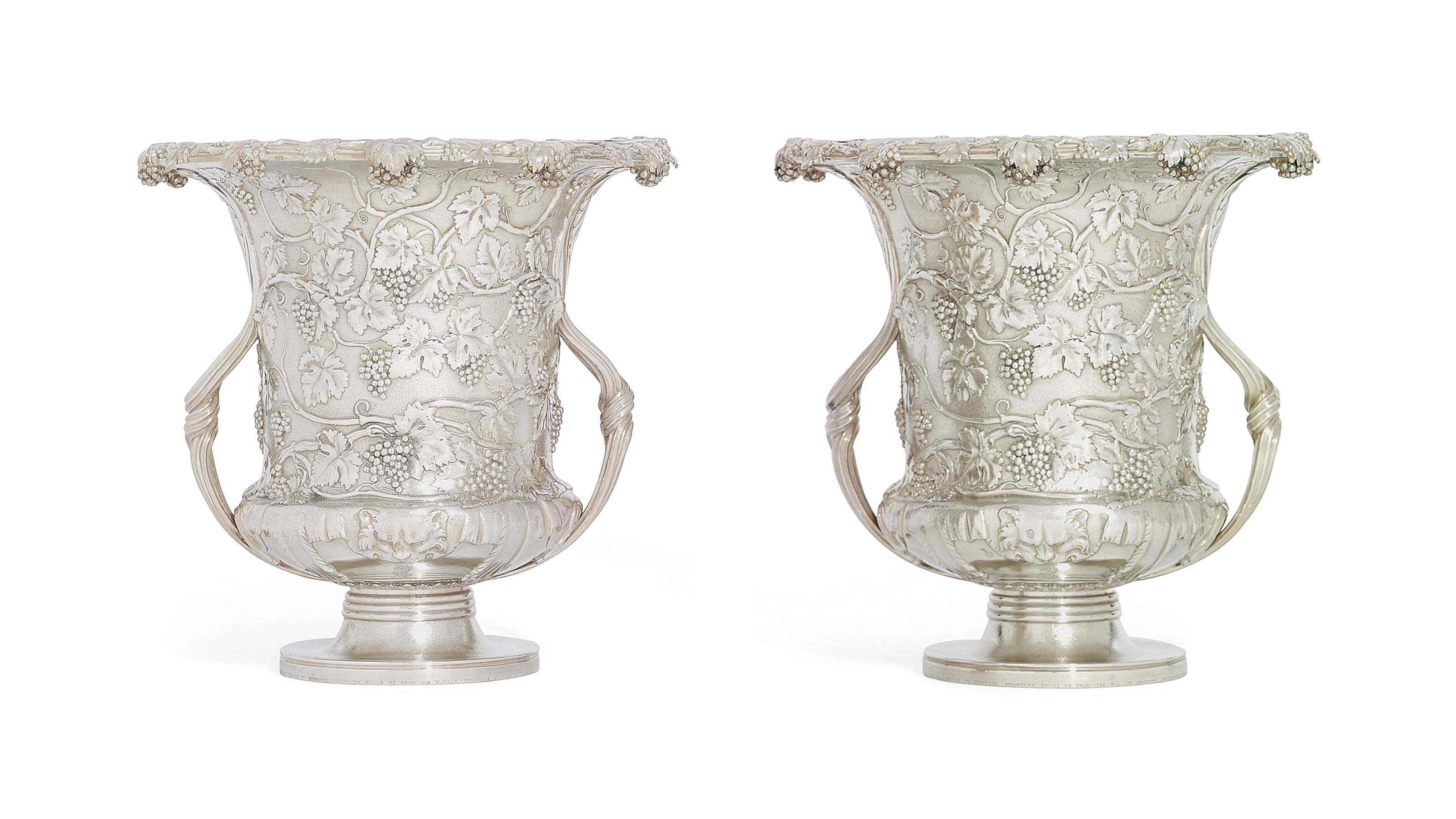 A PAIR OF WILLIAM IV SILVER WINE-COOLERS, COLLARS AND LINERS
