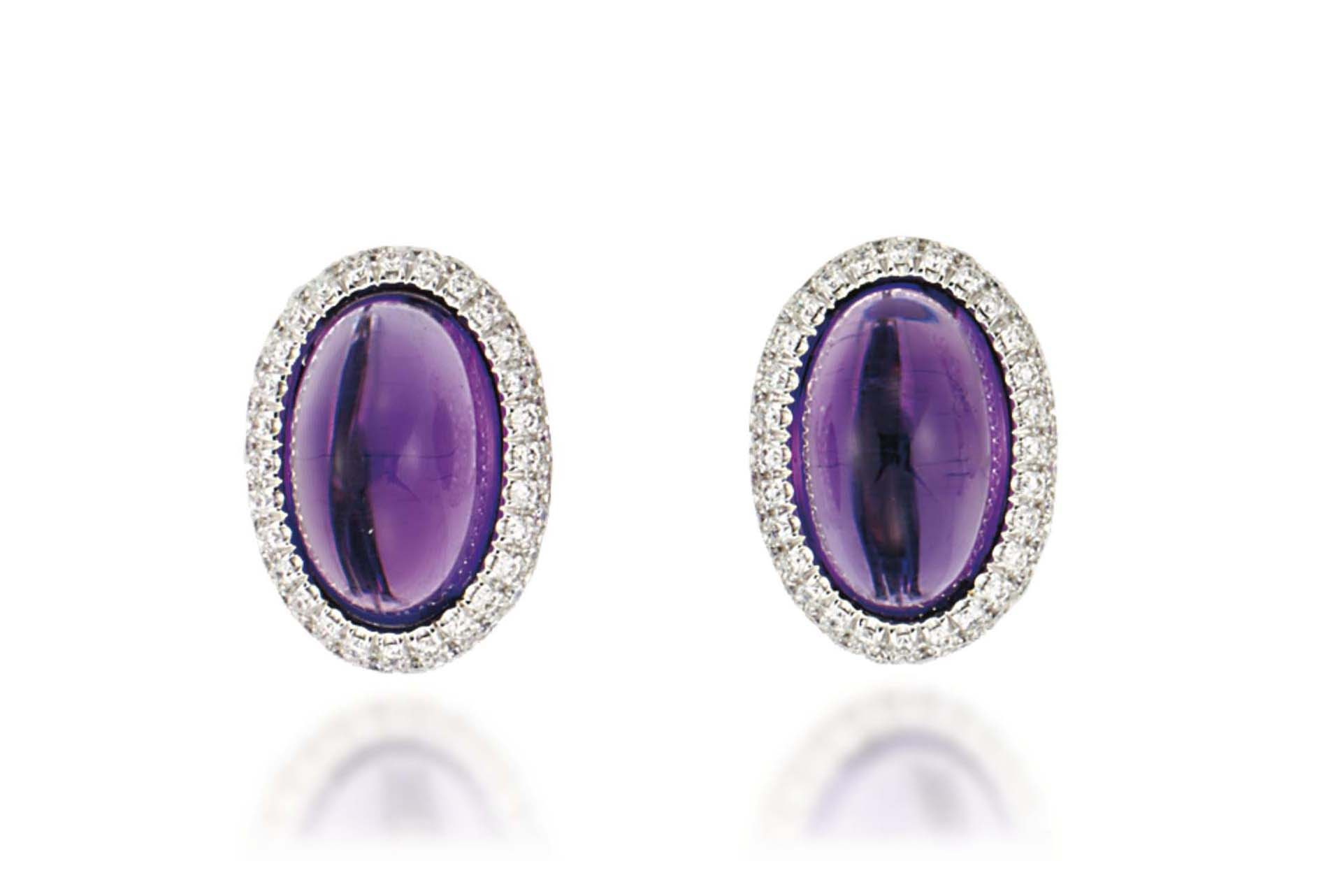 A PAIR OF AMETHYST AND DIAMOND EAR CLIPS, BY MARGHERITA BURGENER