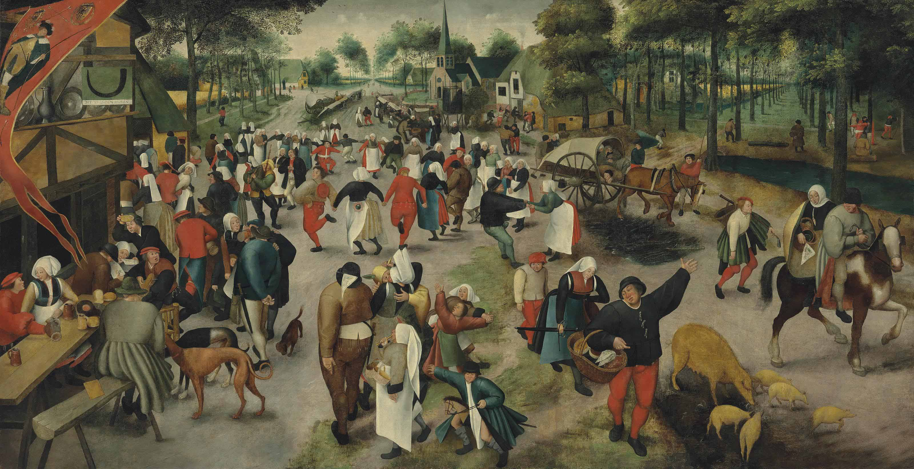 Saint George's Day: A village kermesse with figures dancing and merrymaking, others drinking before an inn at the sign of The Horn