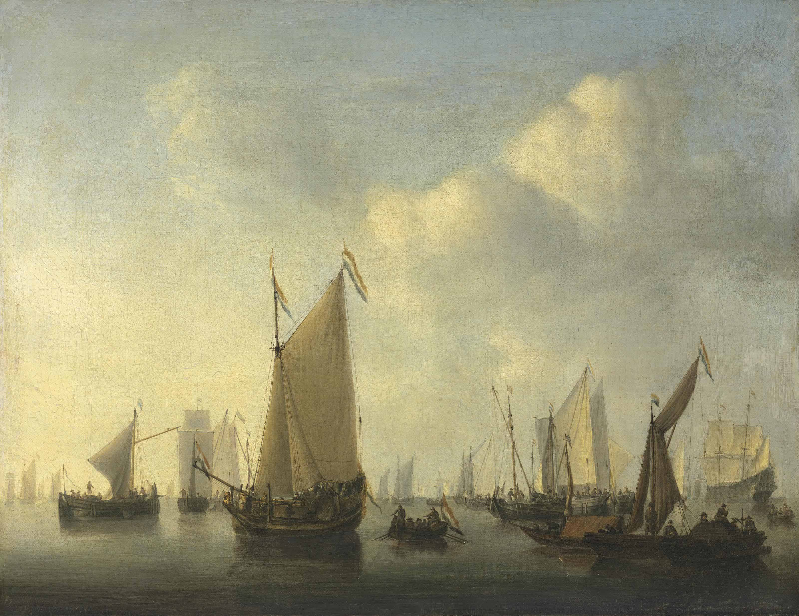 A States yacht under sail, a pont with sprit-sail hauled up and other ships in a calm