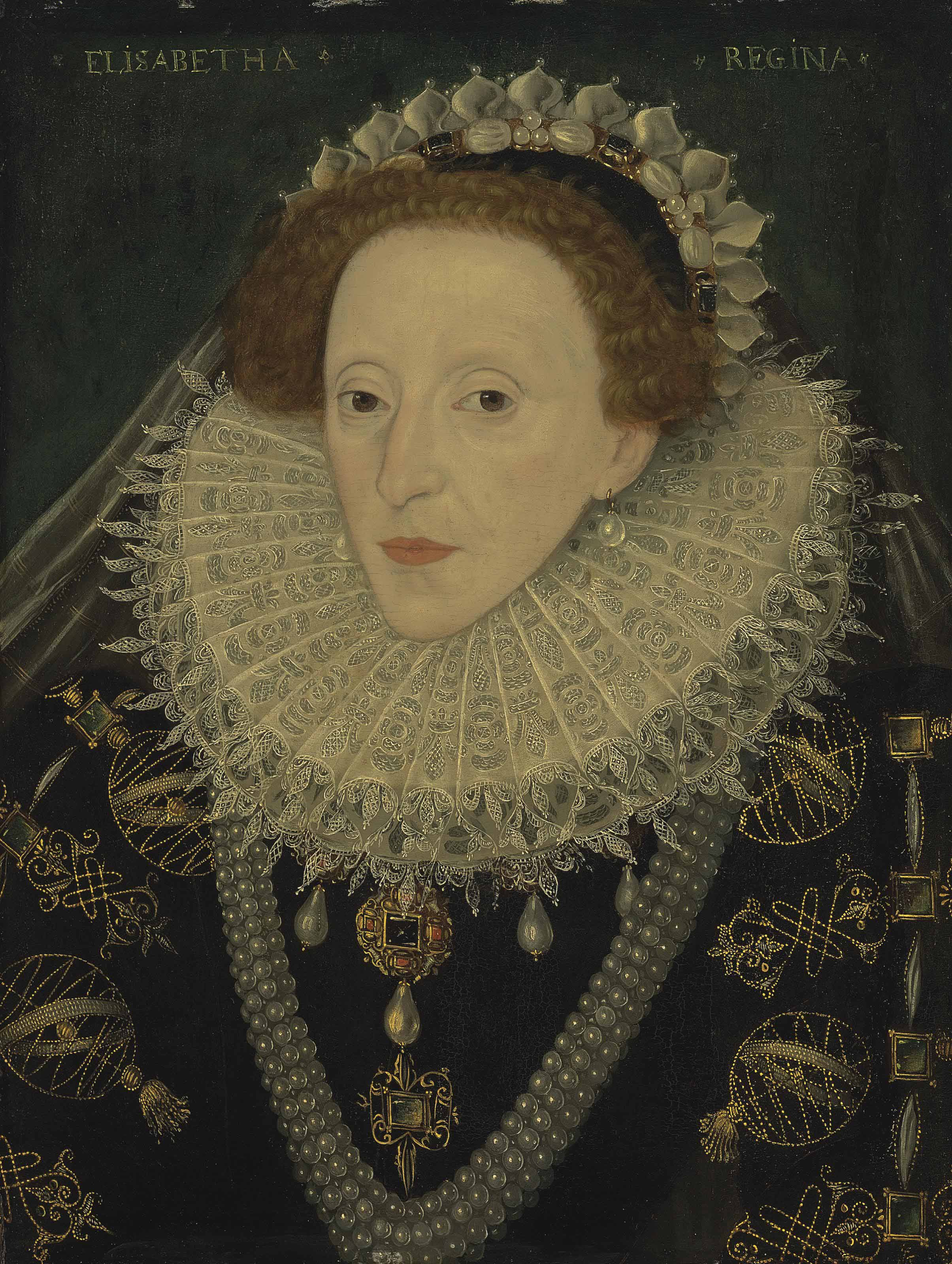 Portrait of Queen Elizabeth I (1533-1603), half-length, in a black gold embroidered and bejewelled dress with armillary spheres, a lace ruff, a bejewelled headdress and a veil