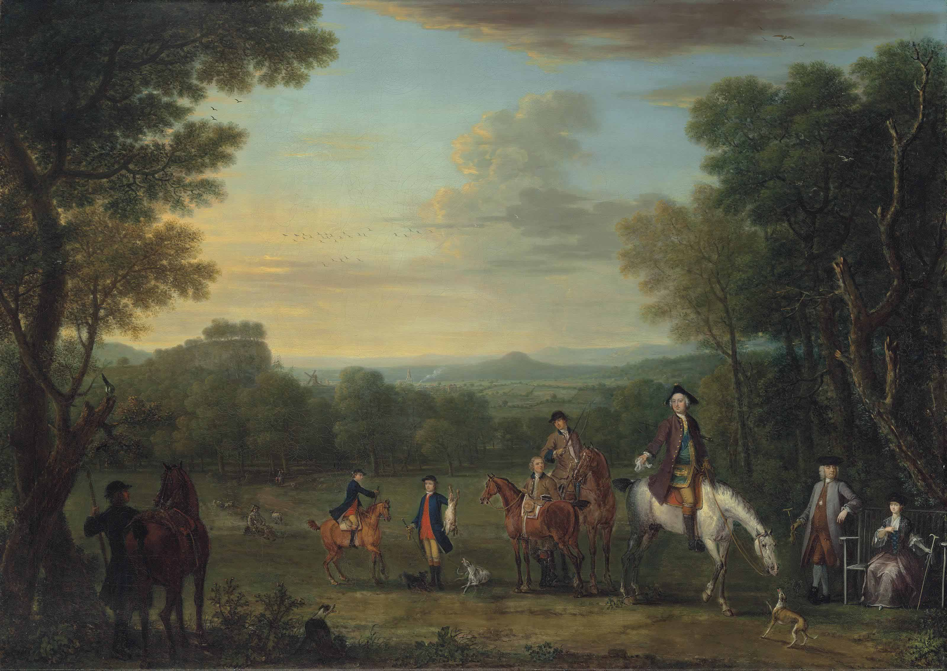 Thomas Osborne, 4th Duke of Leeds (1713-1789), on horseback, with a hunting party in an extensive wooded landscape