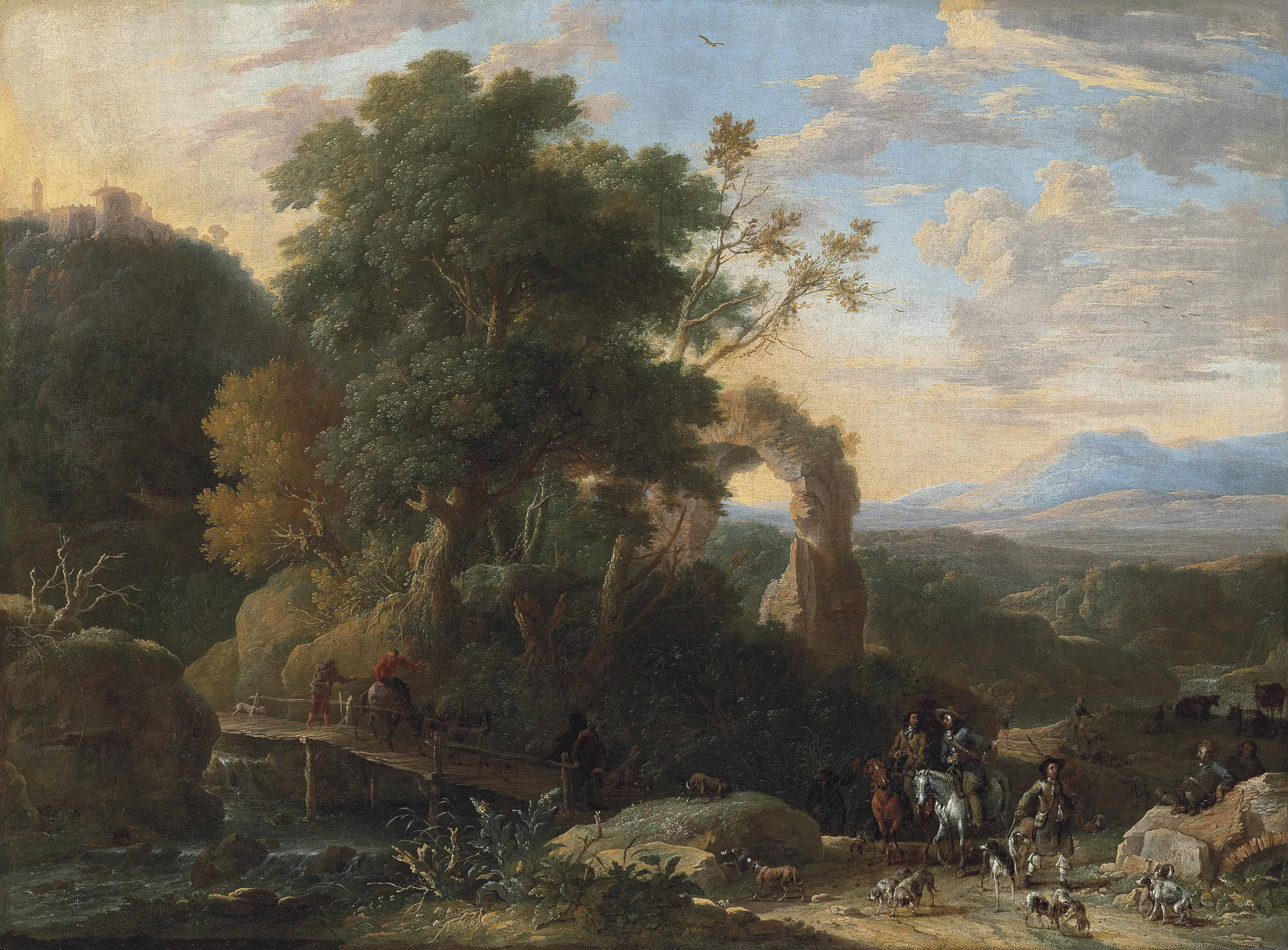 A wooded, river landscape with ruins, a hunting party in the right foreground