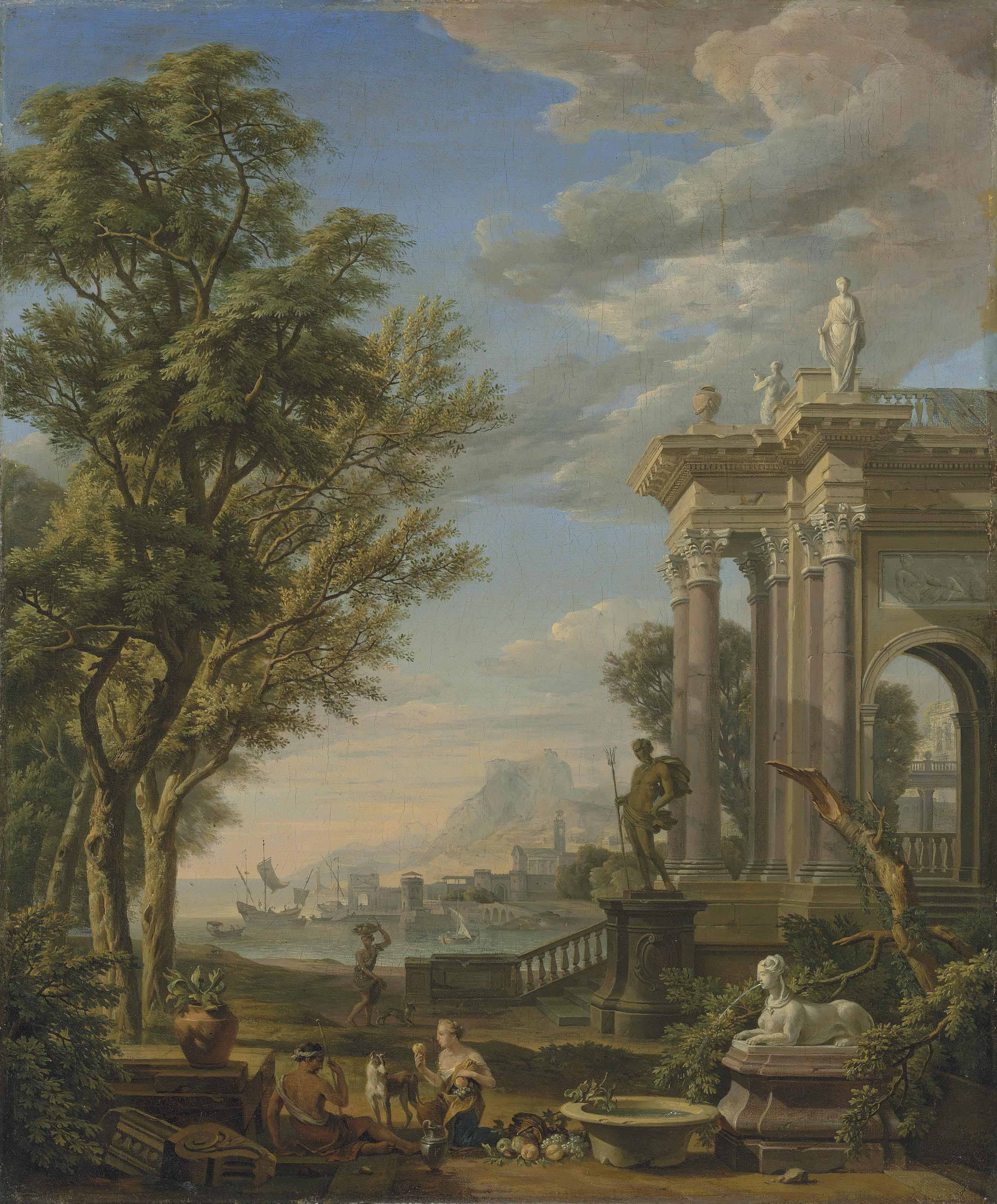 A Mediterranean harbour with classical ruins, a figure of Neptune and a fountain in the foreground