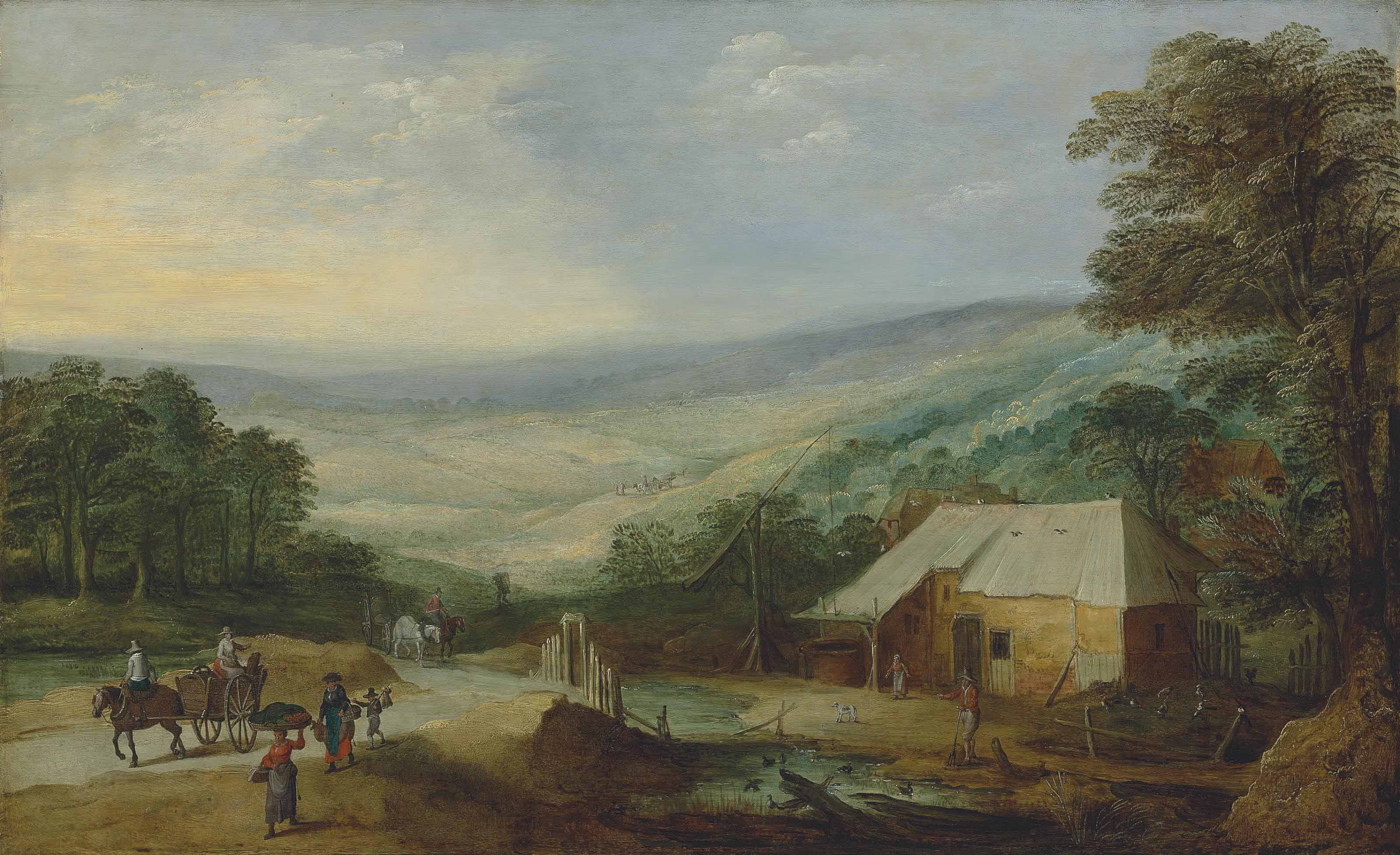 An extensive wooded landscape with figures and horse-drawn carts on a track by a cottage