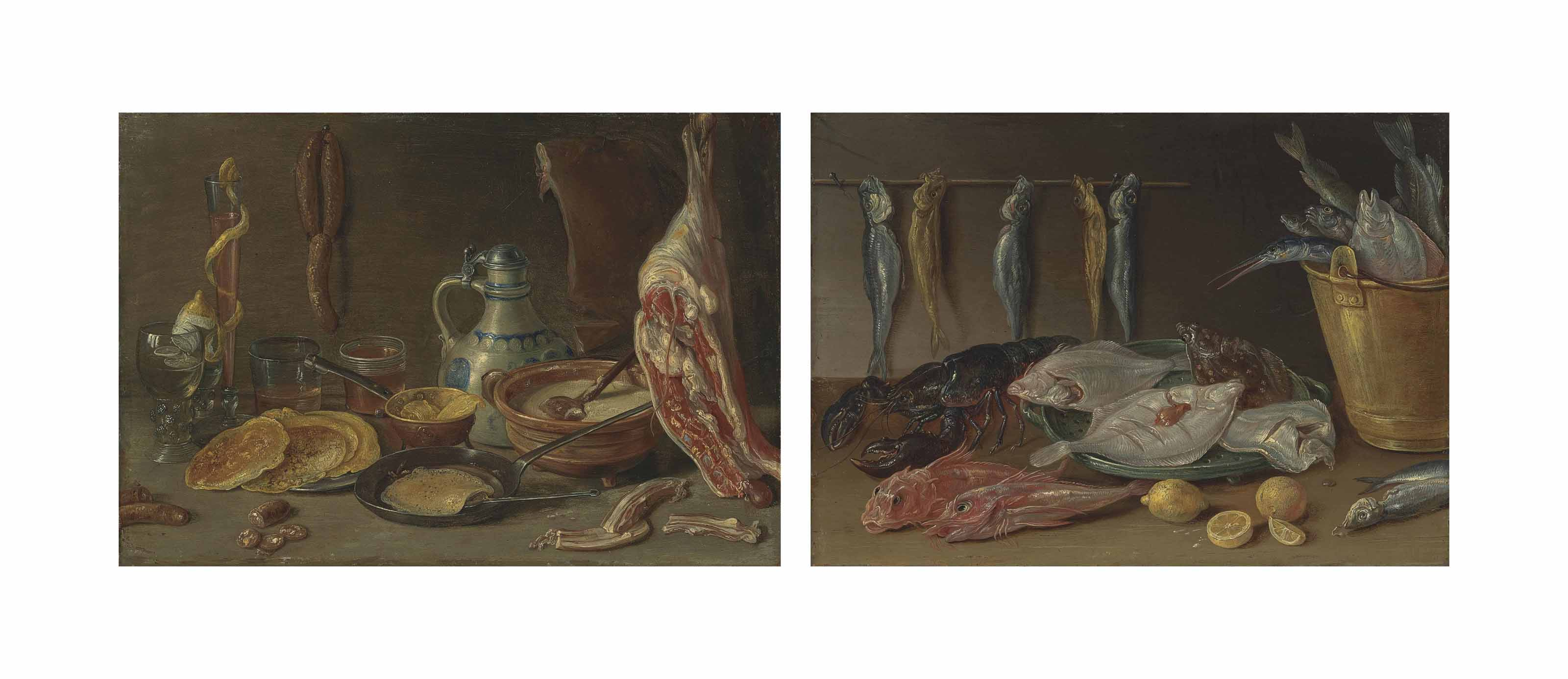 Pancakes on a pewter platter and in a pan, a vessel with batter, a joint of ham, sausages, two roemers and other vessels on a stone ledge; and Plaice in a collander, gurnard, a lobster and a bucket of fish on a ledge with lemons