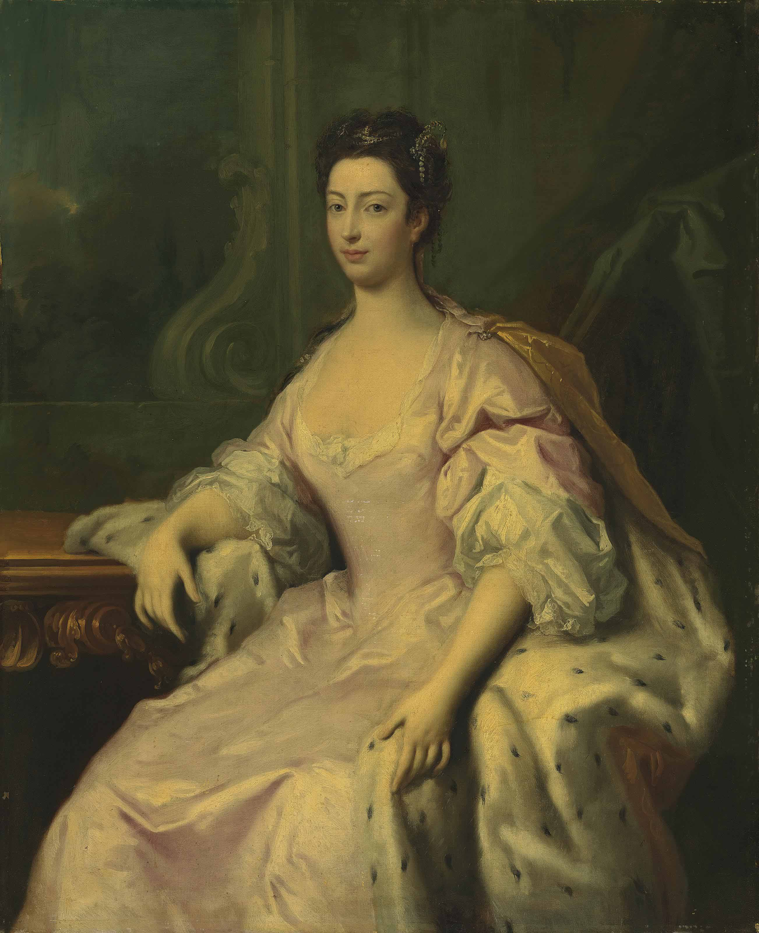 Portrait of Princess Caroline Elizabeth (1713-1757), daughter of King George II, three-quarter-length, in a pink dress and ermine-lined cloak