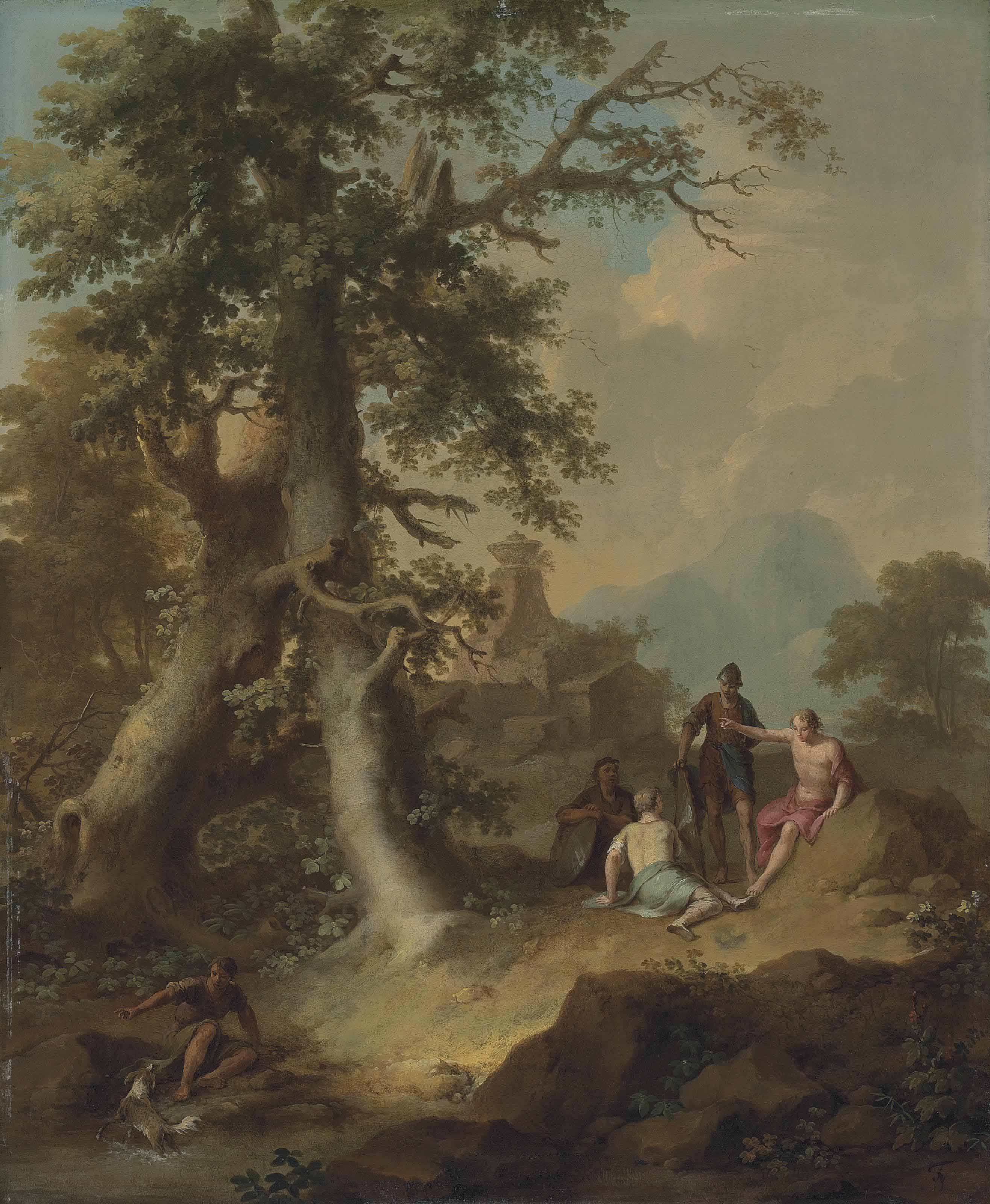A wooded landscape with soldiers and other figures resting, with a classical tomb beyond