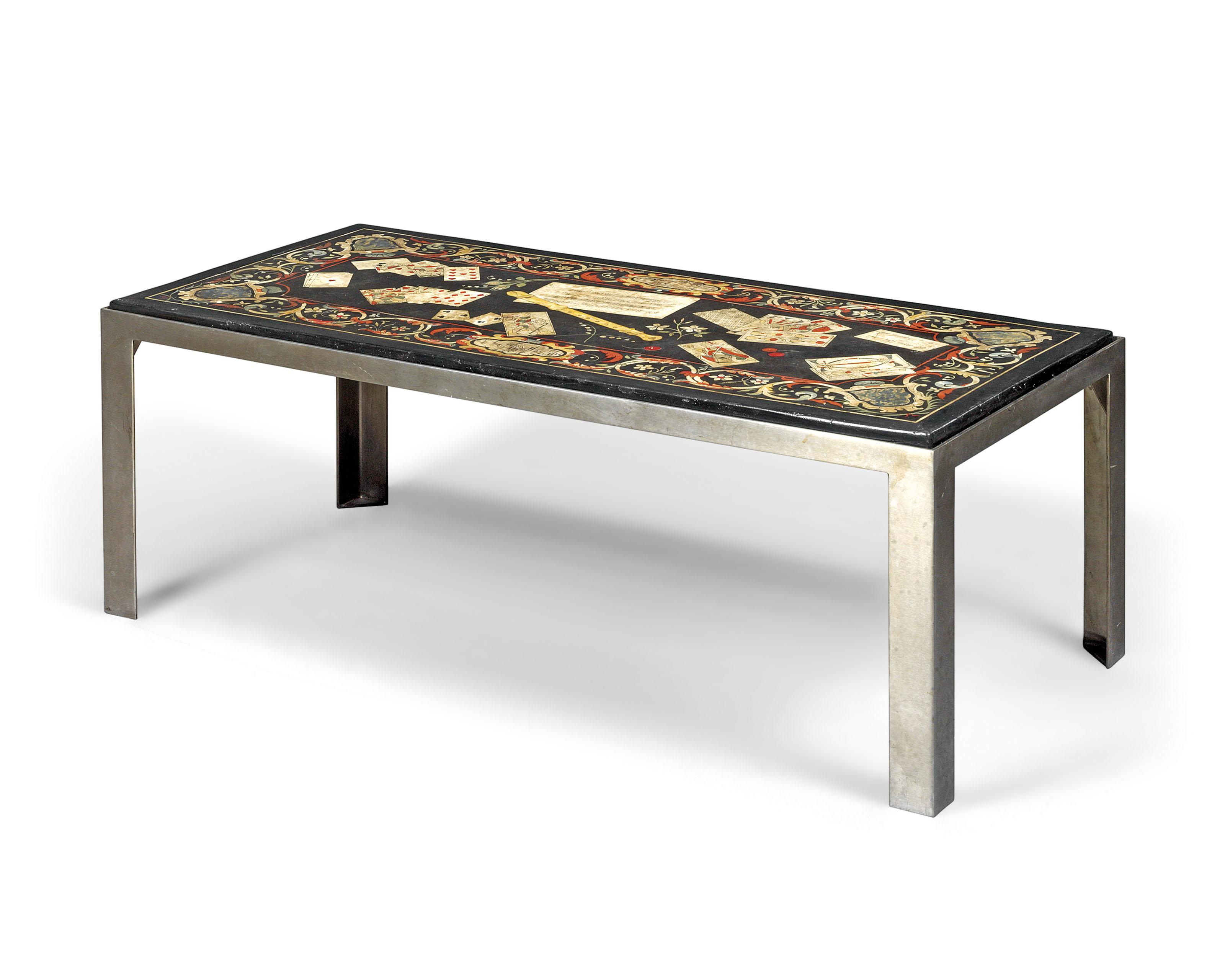 AN ITALIAN SCAGLIOLA TABLE TOP