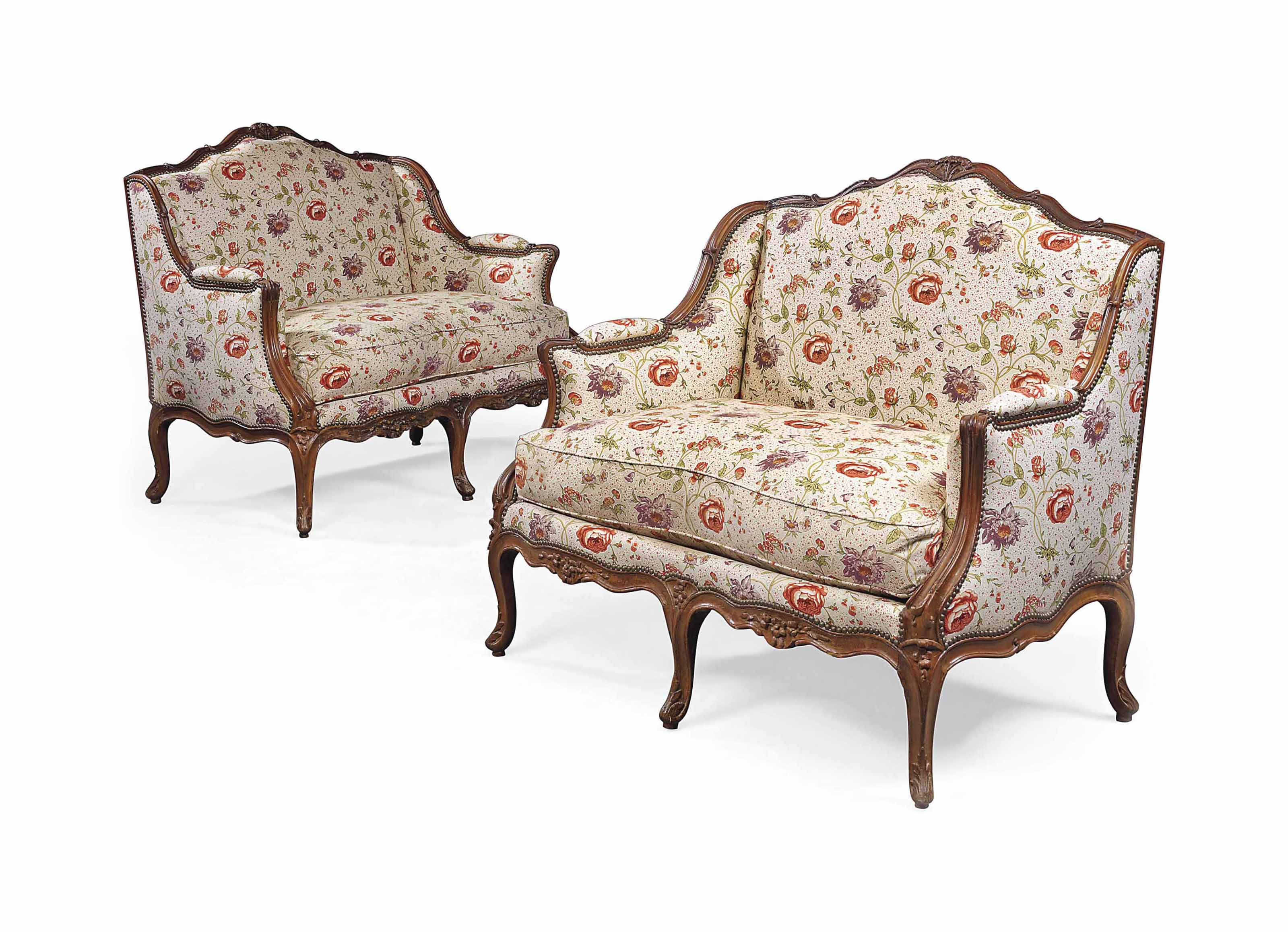 A PAIR OF LOUIS XV WALNUT MARQUISES