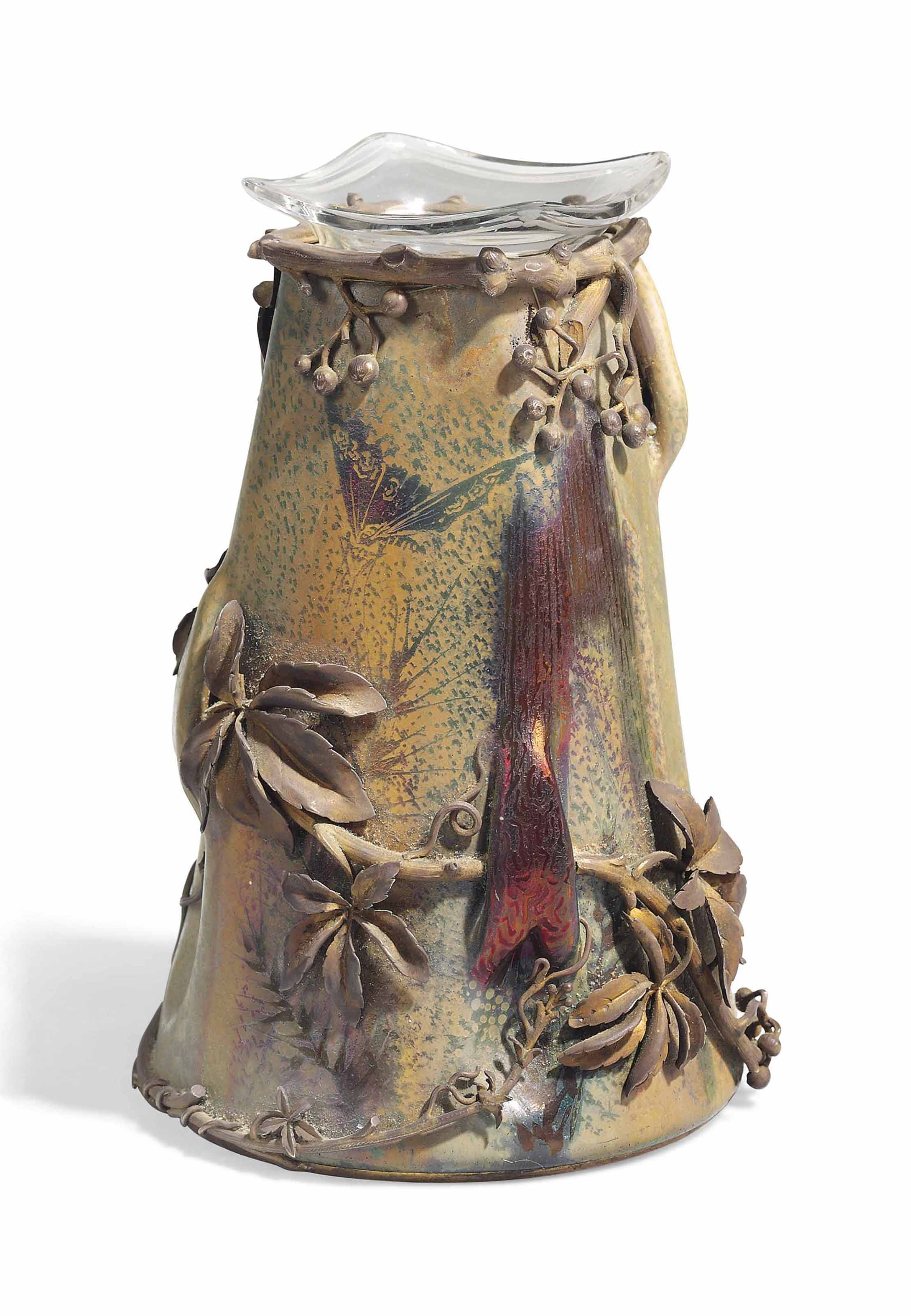 A CLÉMENT MASSIER ART NOUVEAU LUSTRE CERAMIC VASE WITH BRONZE MOUNTS