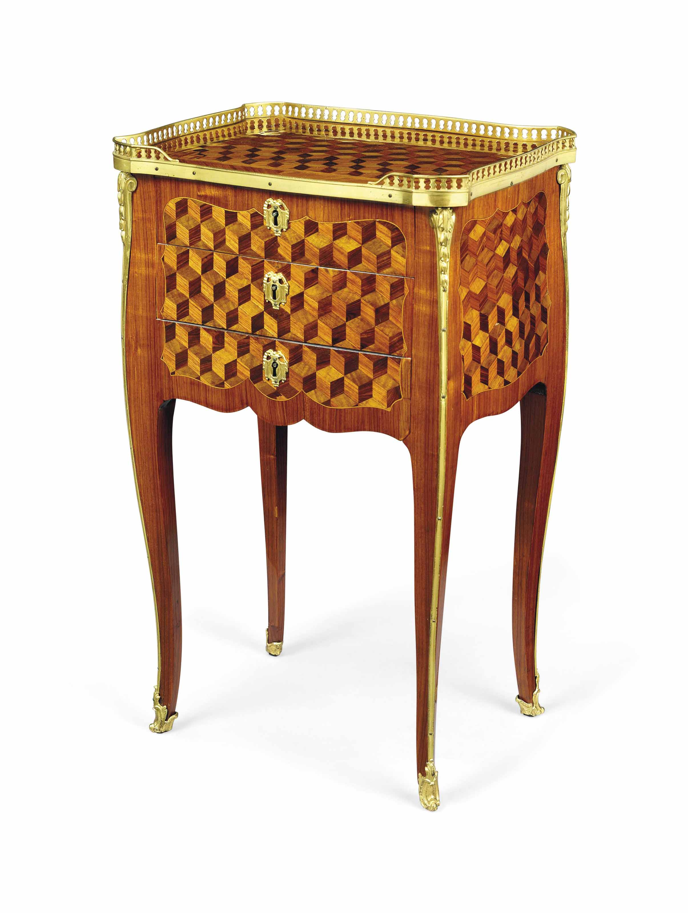 A LATE LOUIS XV ORMOLU-MOUNTED TULIPWOOD, KINGWOOD, SYCAMORE AND GREEN-STAINED WOOD PARQUETRY OCCASIONAL TABLE